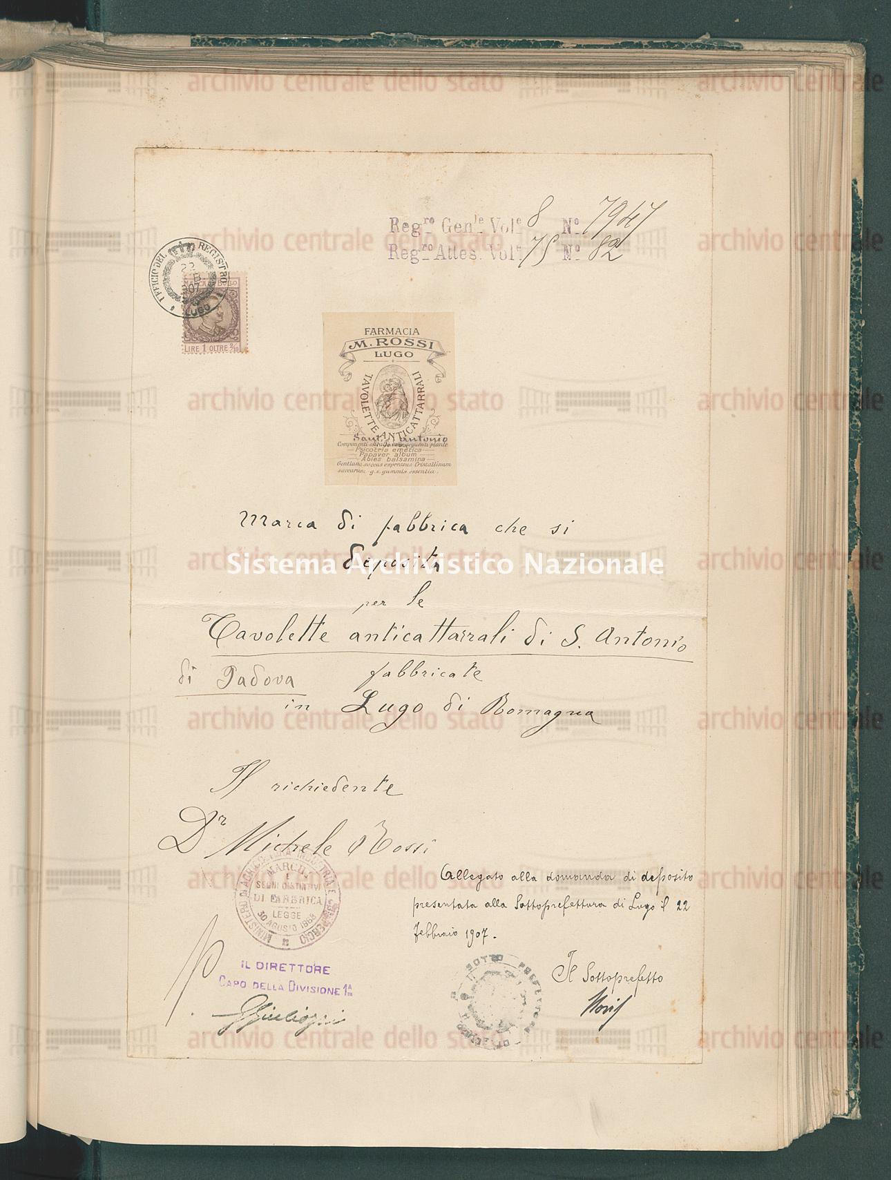 Attestato di trascrizione per marchio di fabbrica: Prodotto famaceutico... Rossi Michele Di Valentino (28/06/1907)