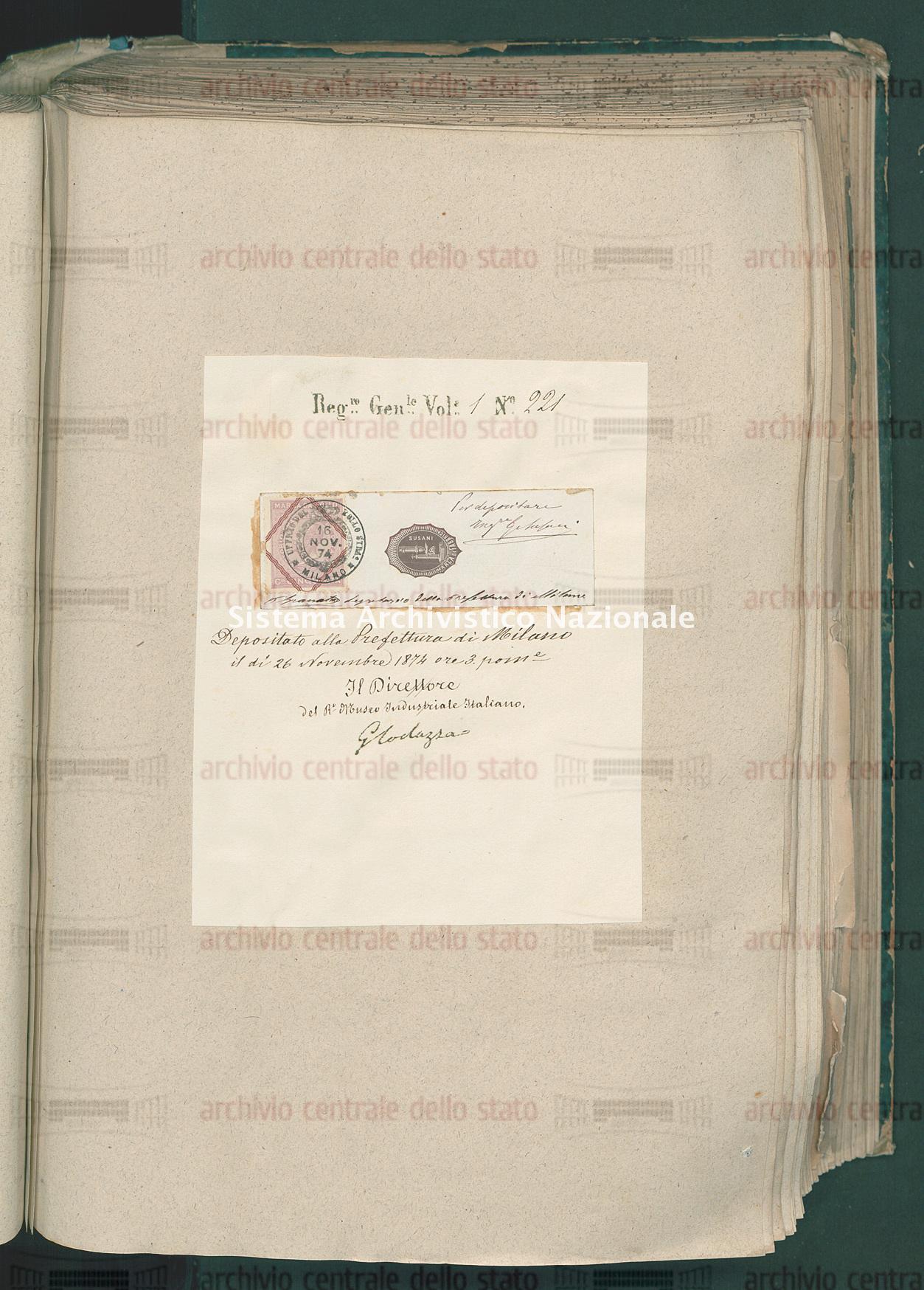 Attestato di trascrizione per marchio di commercio: Bachi selezionati Susani Ing.E Guido Del Fu Mose' (15/12/1874)