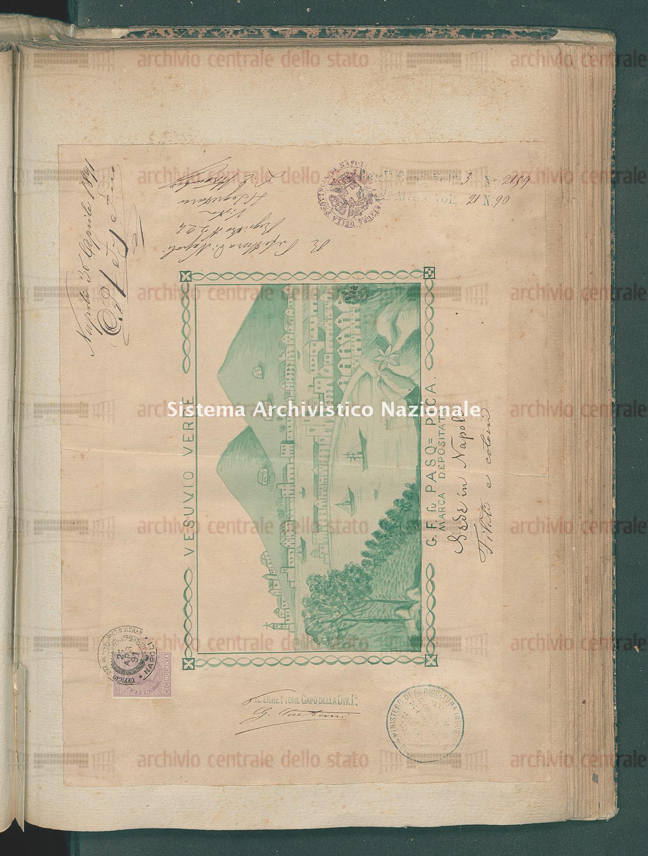 Attestato di trascrizione per marchio di commercio: Filati di cotone Ditta G.F. Fu Pasquale Pica (12/09/1891)