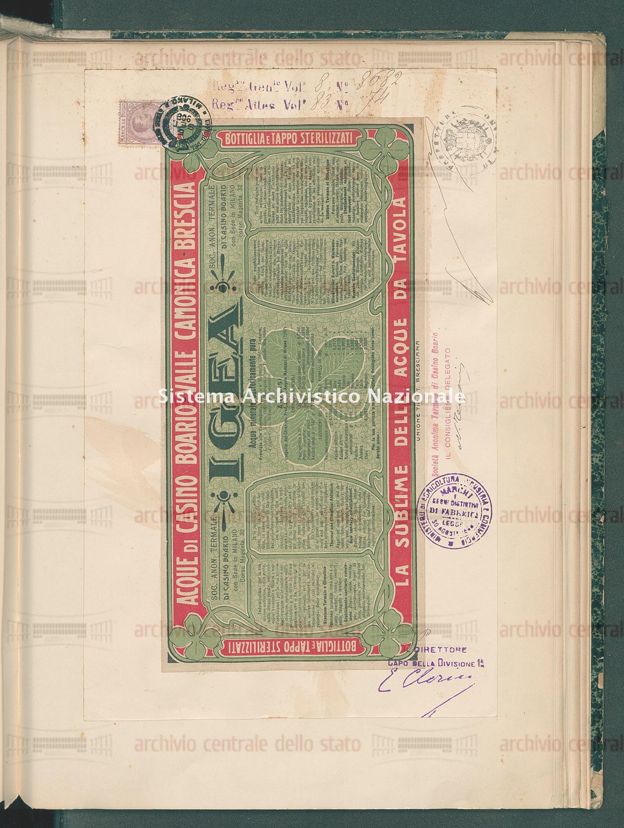 Acqua minerale Societa' Anonima Termale Casino Boario (27/10/1908)