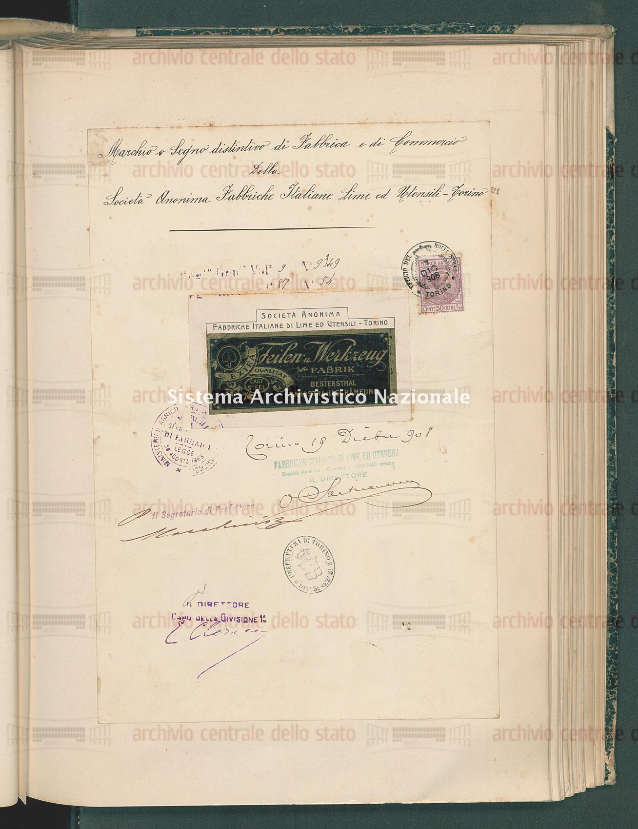 Societa' Anonima Fabbriche Italiane Lime Ed Utensili (27/05/1909)