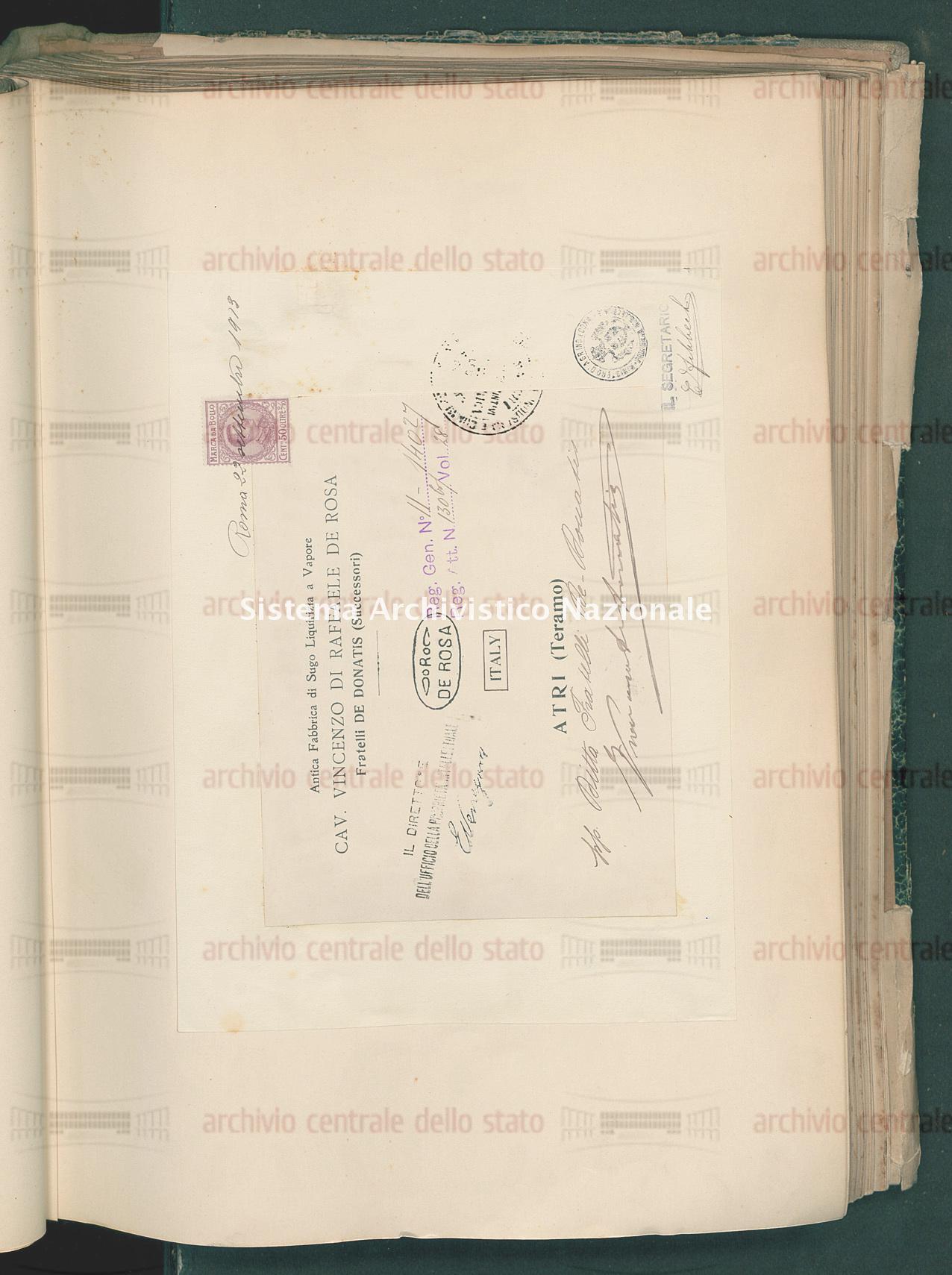Ditta Fratelli De Donatis Successori Della Ditta Cav. Vincenzo Di Raffaele De Rosa (24/10/1913)
