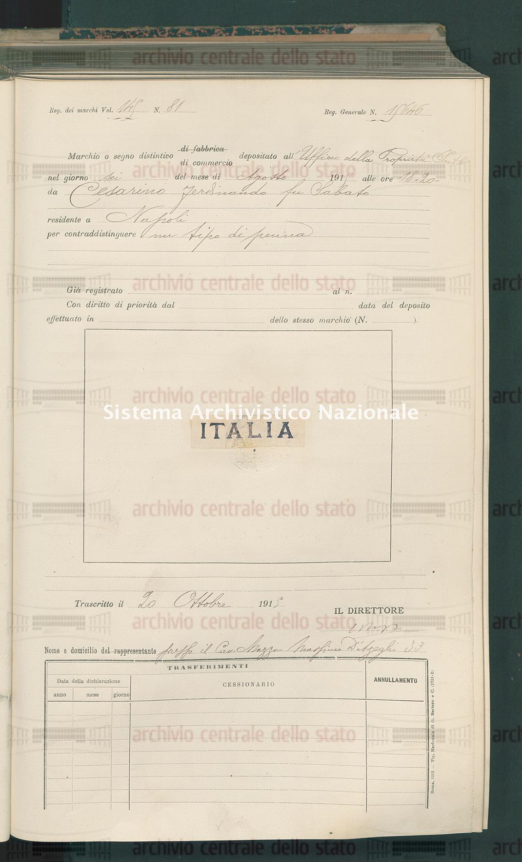 Cesarino Ferdinando Fu Sabato (20/10/1915)
