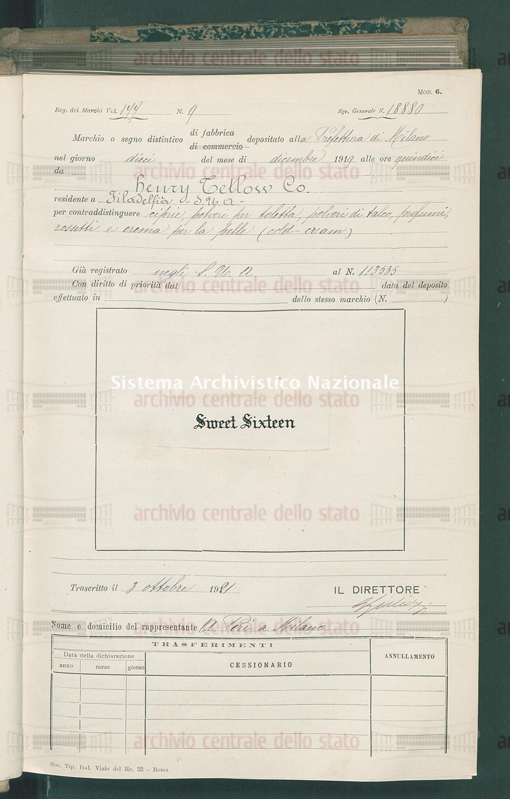 Henry Tetlow Co. (03/10/1921)