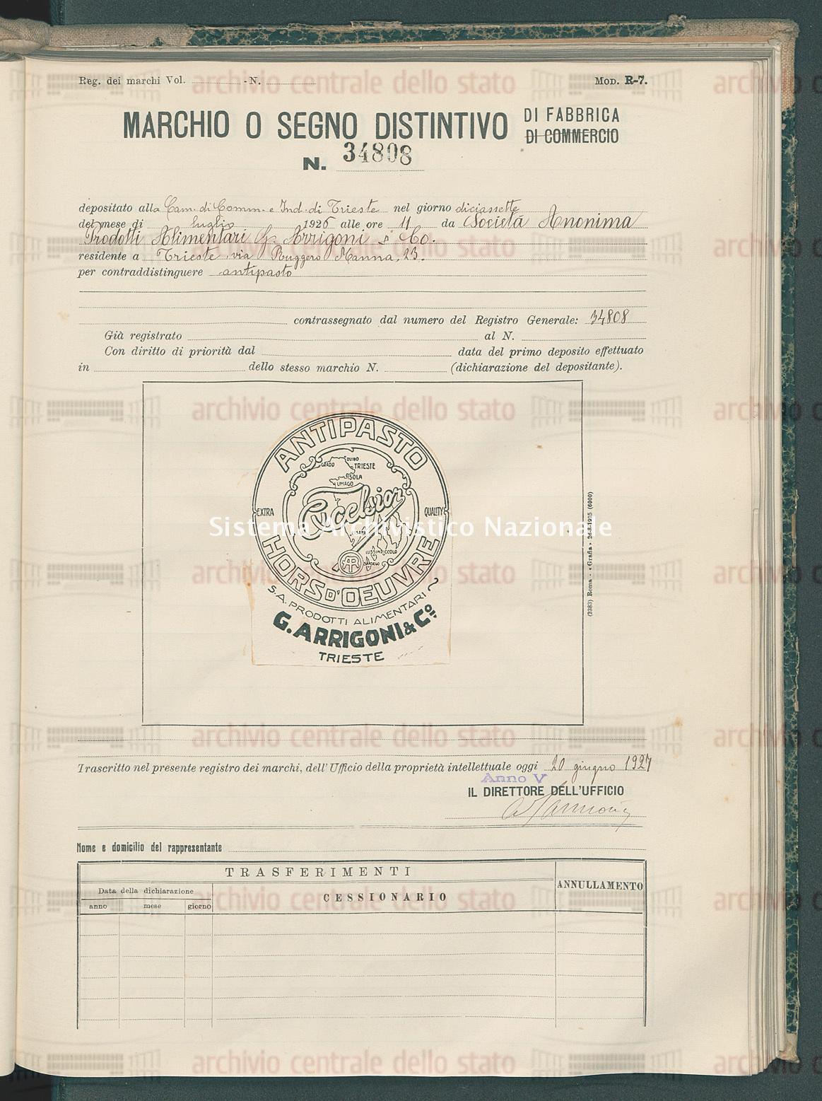 Antipasto Societa' Anonima Prodotti Alimentari G. Arrigoni & Co. (20/06/1927)