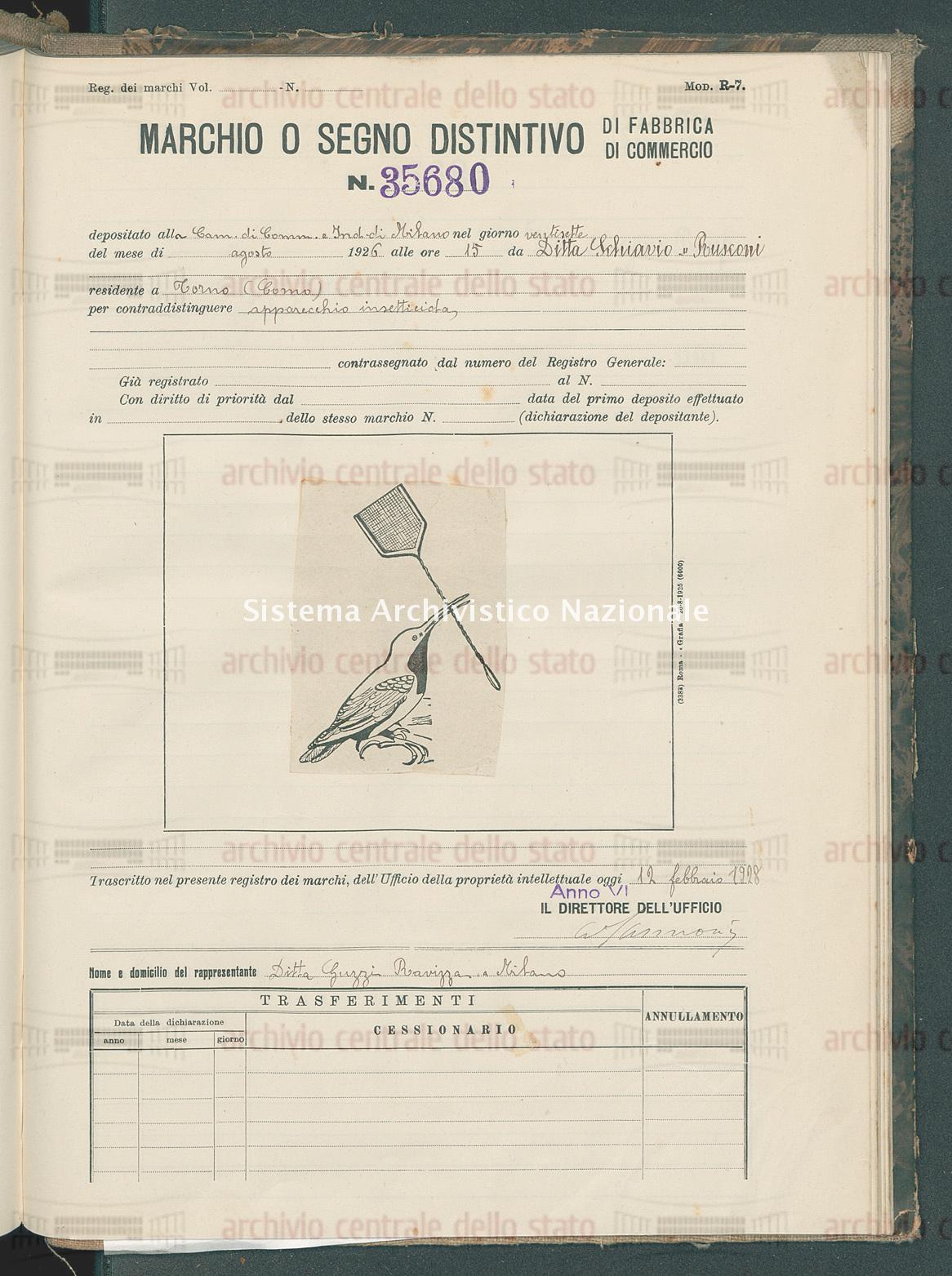Apparecchio insetticida Ditta Schiavio & Rusconi (12/02/1928)