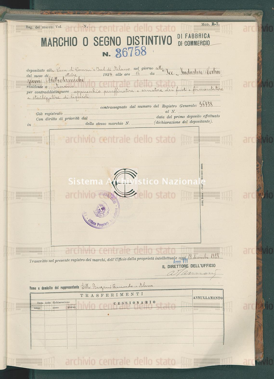 Apparecchio paraffinatore e sorratore dei fusti ecc. 'Ice' Industrie Costruzioni Elettrotermiche (18/12/1928)