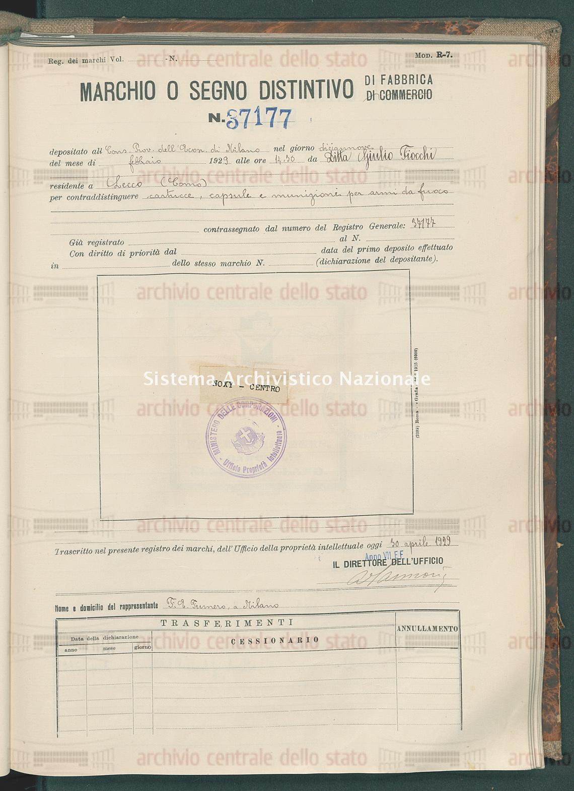 Cartucce, capsule e munizioni per armi da fuoco Ditta Giulio Fiocchi (30/04/1929)