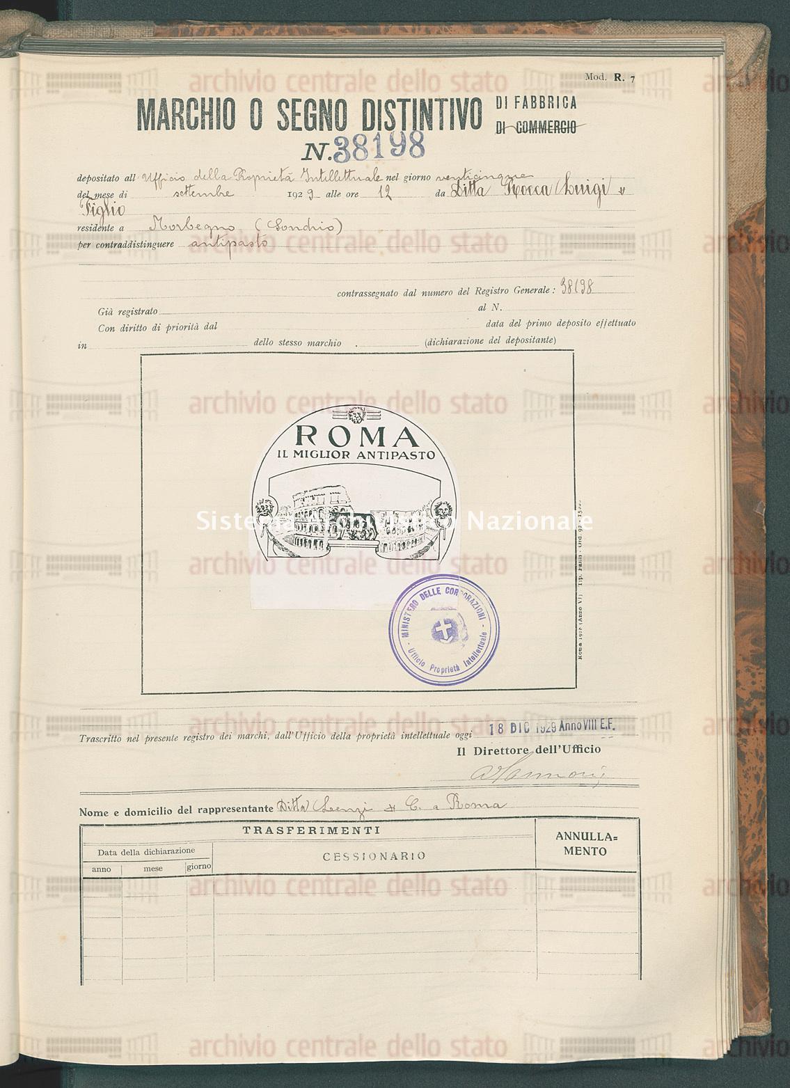 Antipasto Ditta Rocca Luigi & Figlio (18/12/1929)