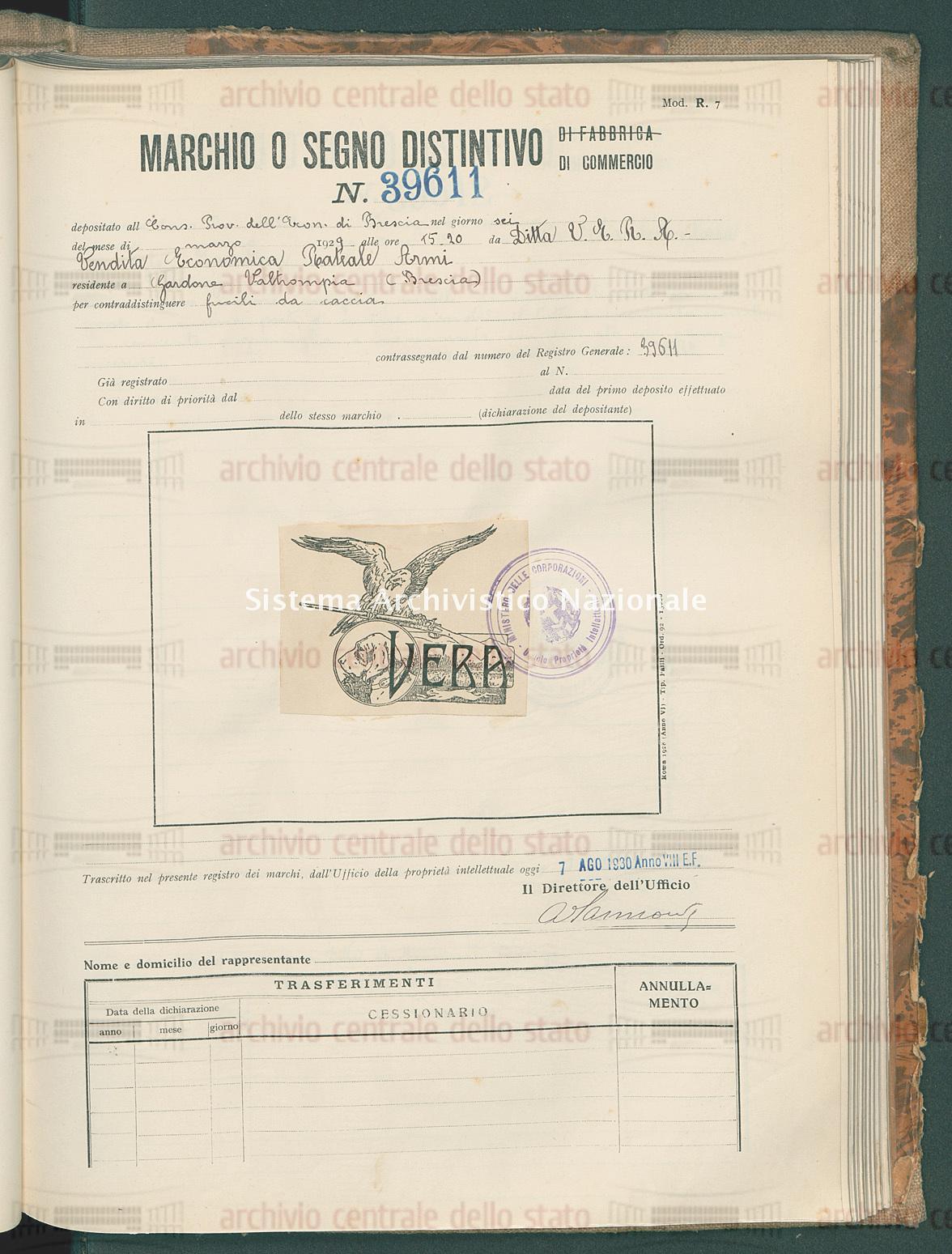 Fucili da caccia Ditta V.E.R.A. - Vendita Economica Rateale Armi (07/08/1930)