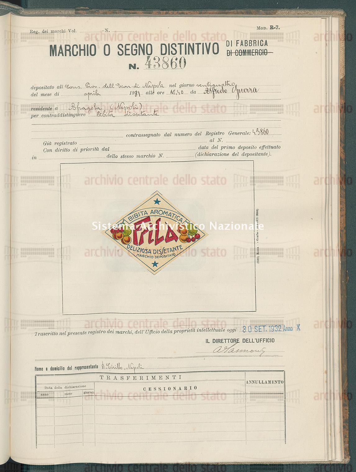 Bibita dissetante Alfredo Guerra (30/09/1932)