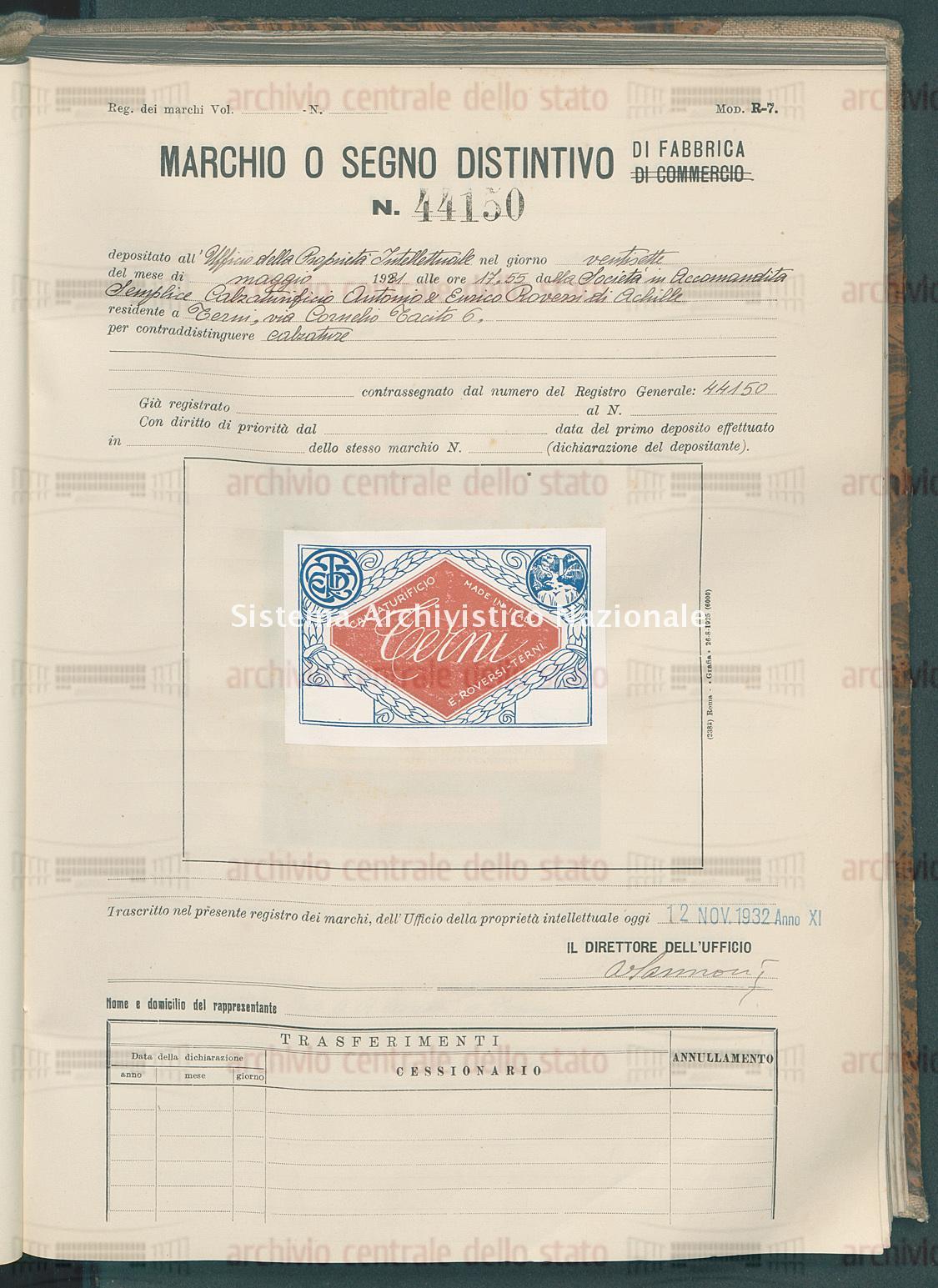 Calzature Societa' In Accomandita Semplice Calzaturificio Antonio & Enrico Roversi Di Achille (12/11/1932)
