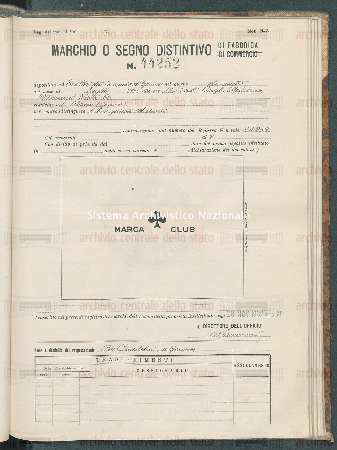 Bibite gassose ed essenze Anglo Italiana Mineral Water Co. (26/11/1932)