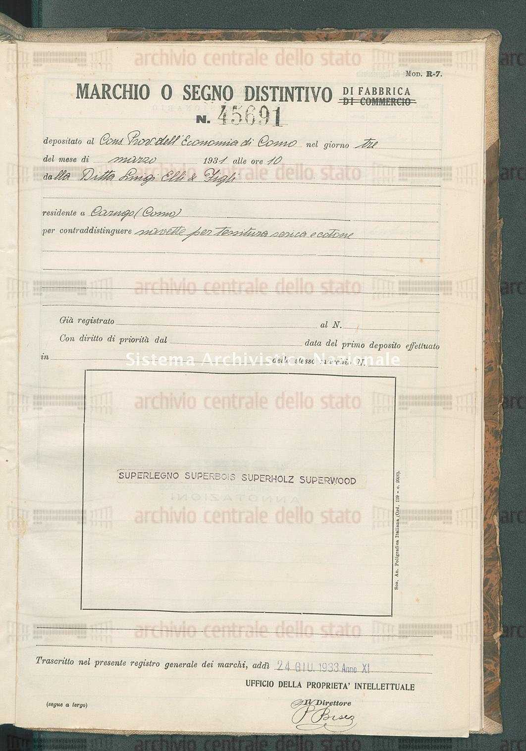 Navette per tessitura serica e cotone Ditta Luigi Elli & Figli (24/06/1933)