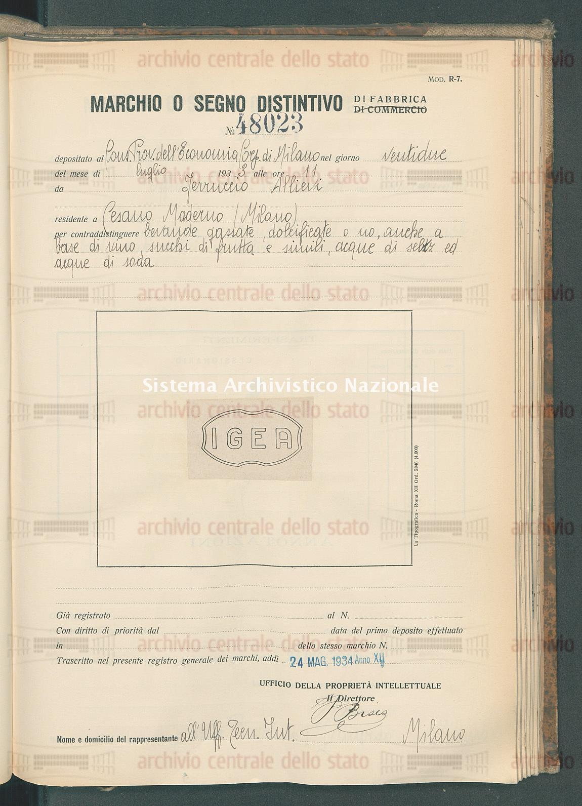 Bevande gassate dolcificate o no ecc. Ferruccio Allievi (24/05/1934)