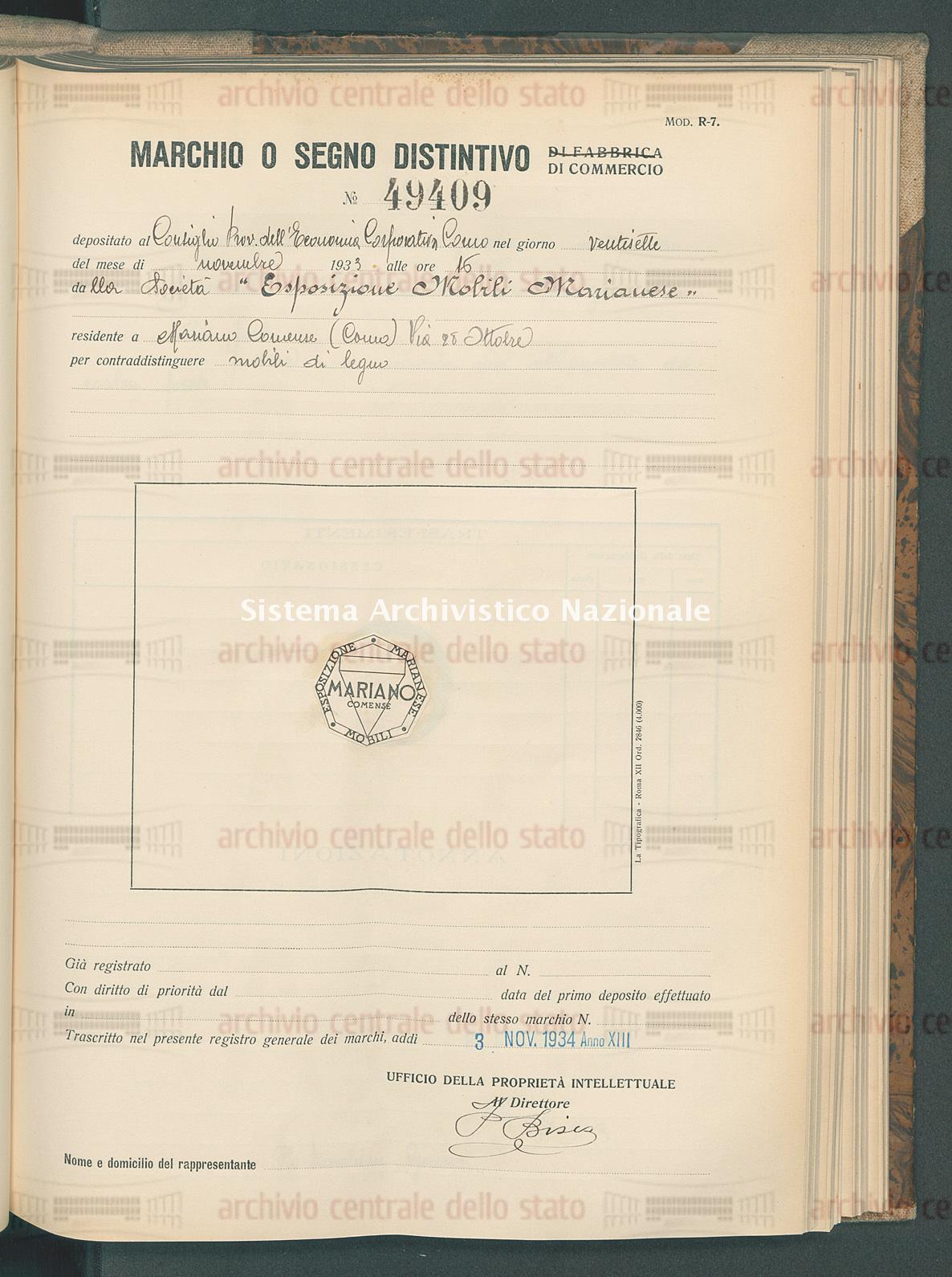 Mobili di legno Societa' 'Esposizione Mobili Marianese' (03/11/1934)