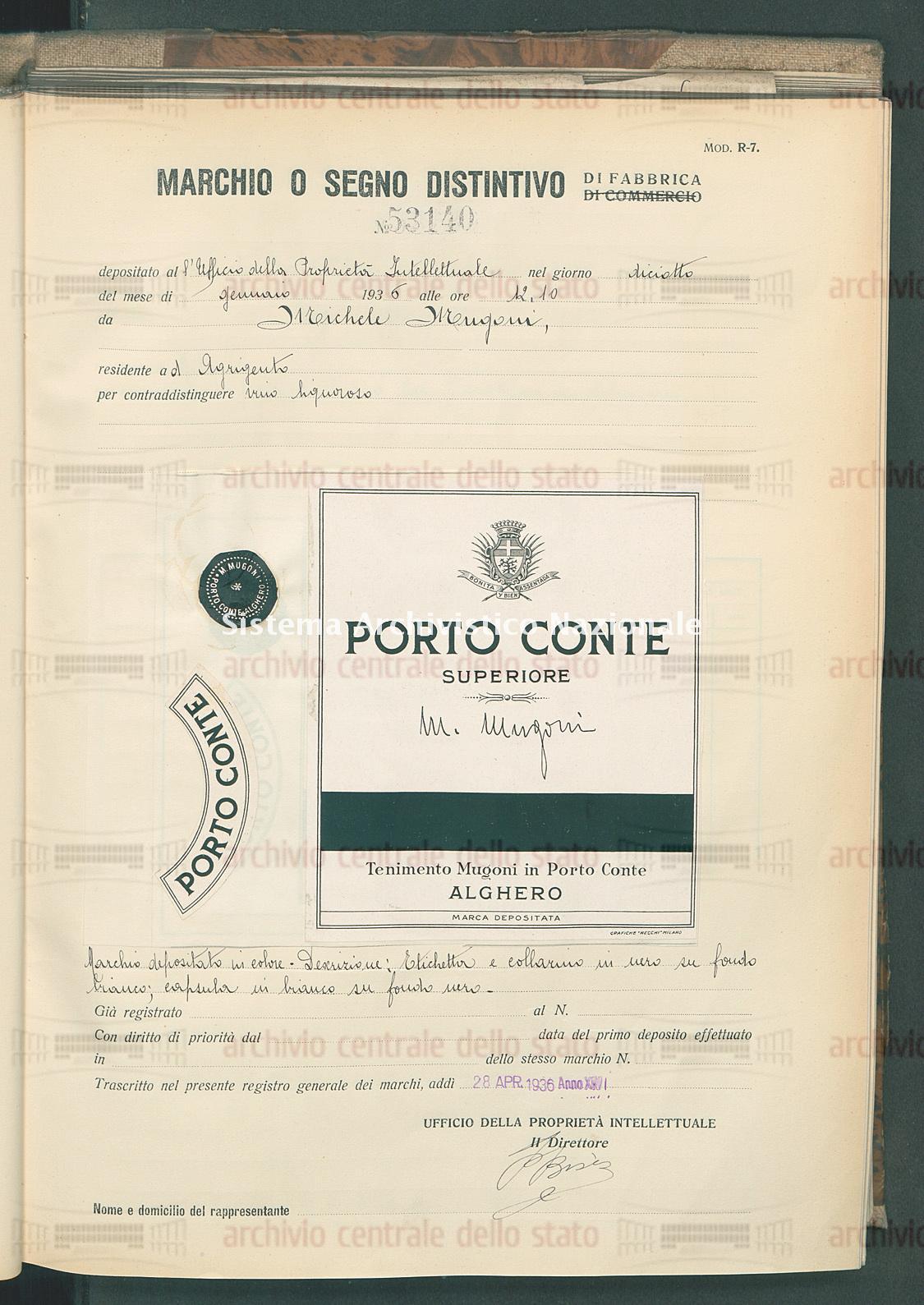 Vino liquoroso Michele Mugoni (28/04/1936)