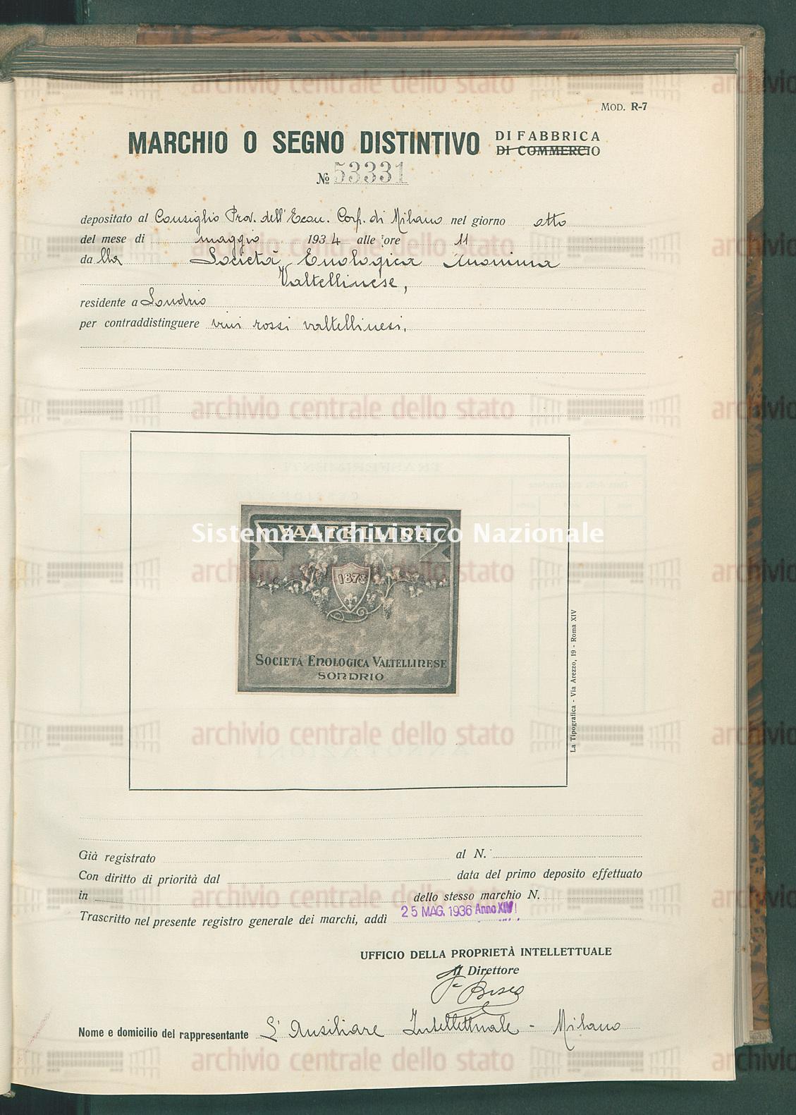 Vini rossi valtellinesi Societa' Enologica Anonima Valtellinese (25/05/1936)