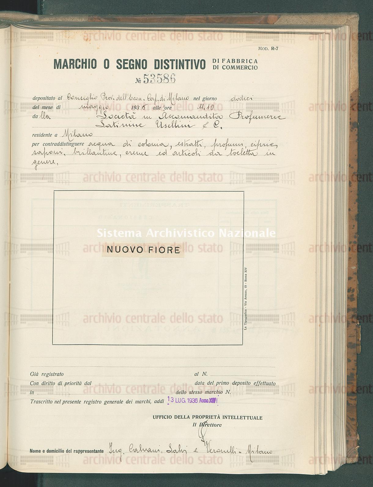 Acqua di colonia, estratti, profumi, etc. Societa' In Accomandita Profumerie Satinine Usellini & C. (13/07/1936)