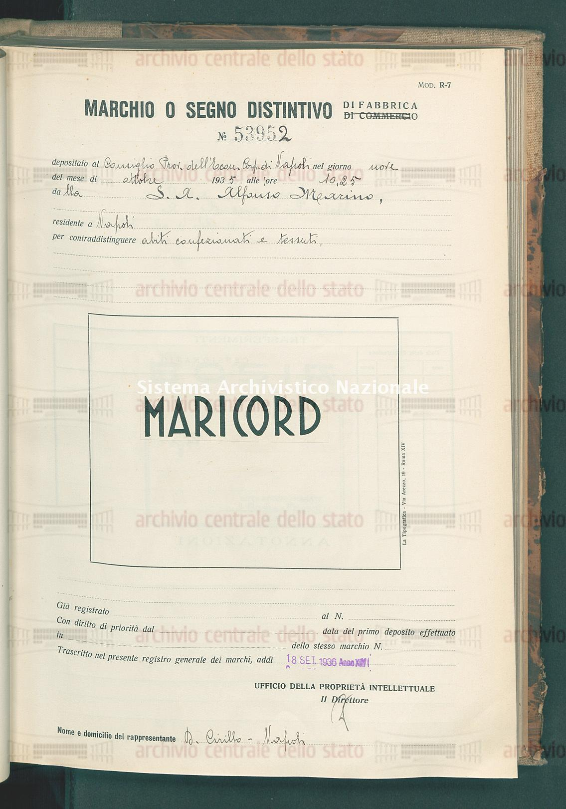 Abiti confezionati etc. S.A. Alfonso Marino (18/09/1936)