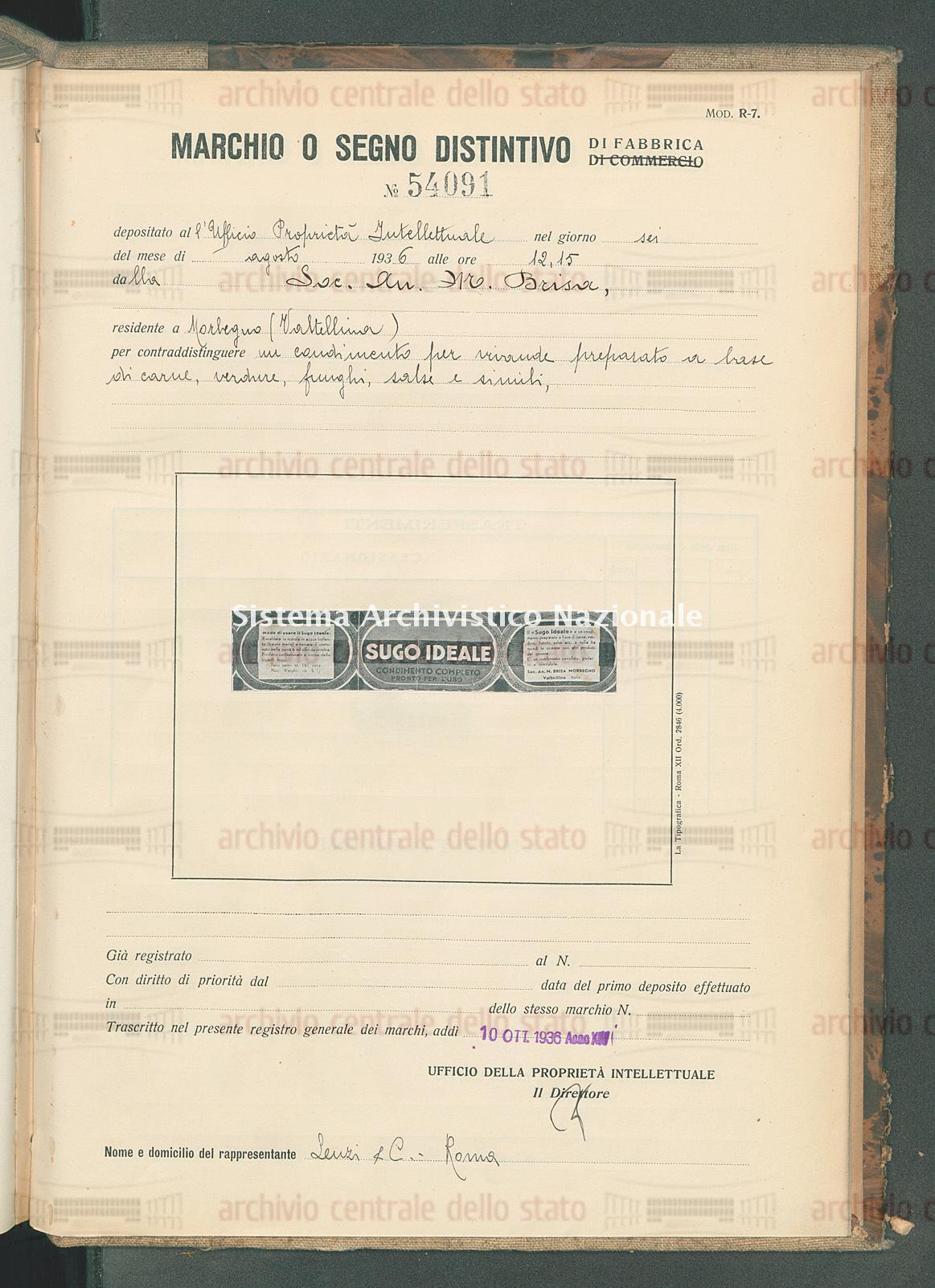 Un condimento per vivande etc. Soc.An. M.Brisa (10/10/1936)