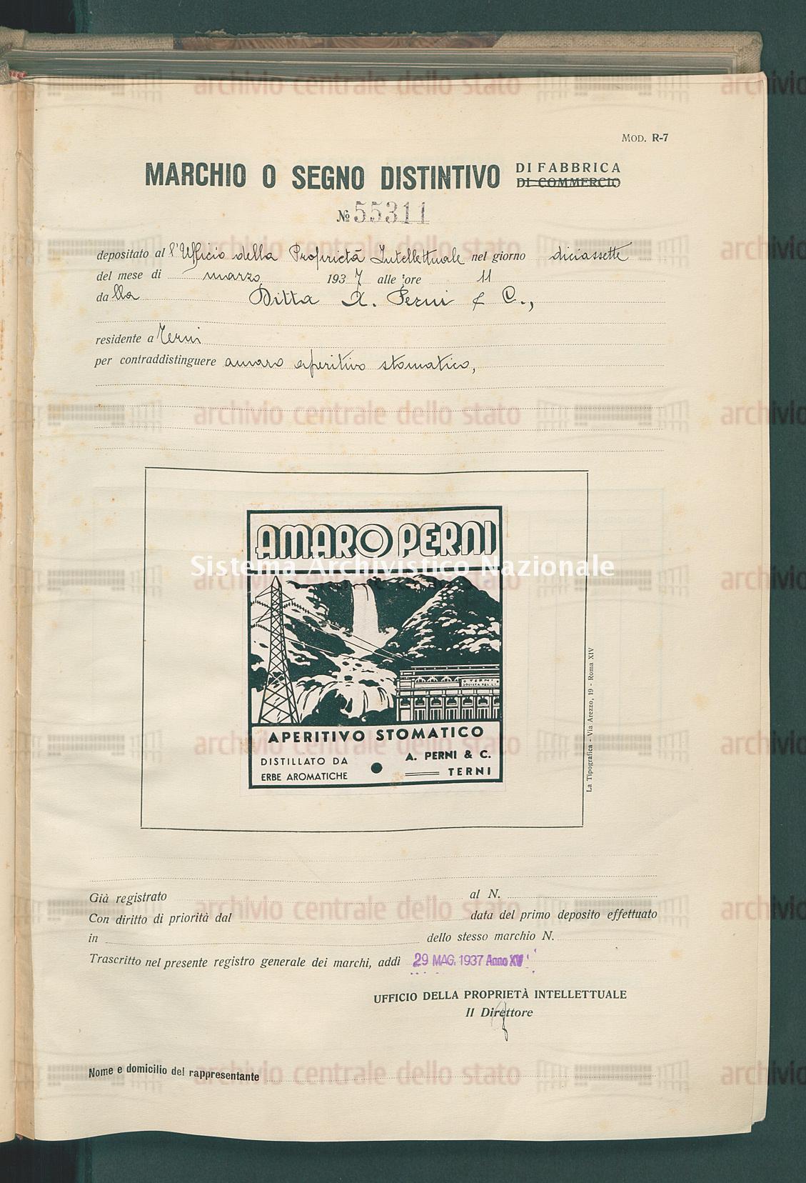 Amaro aperitivo stomatico Ditta A. Perni & C. (29/05/1937)