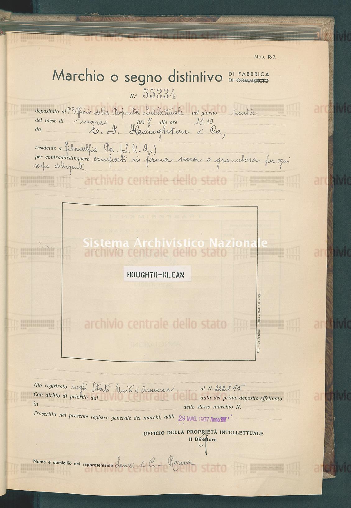 Composti in forma secca o granulare per ogni scopo detergente E.F. Houghton & Co. (29/05/1937)