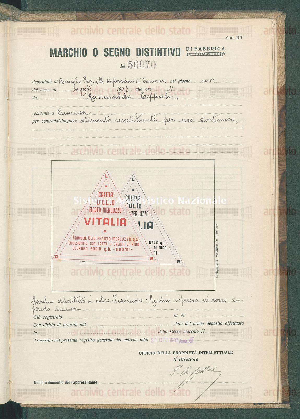 Alimento ricostituente per uso zootecnico Romualdo Teppati (21/10/1937)