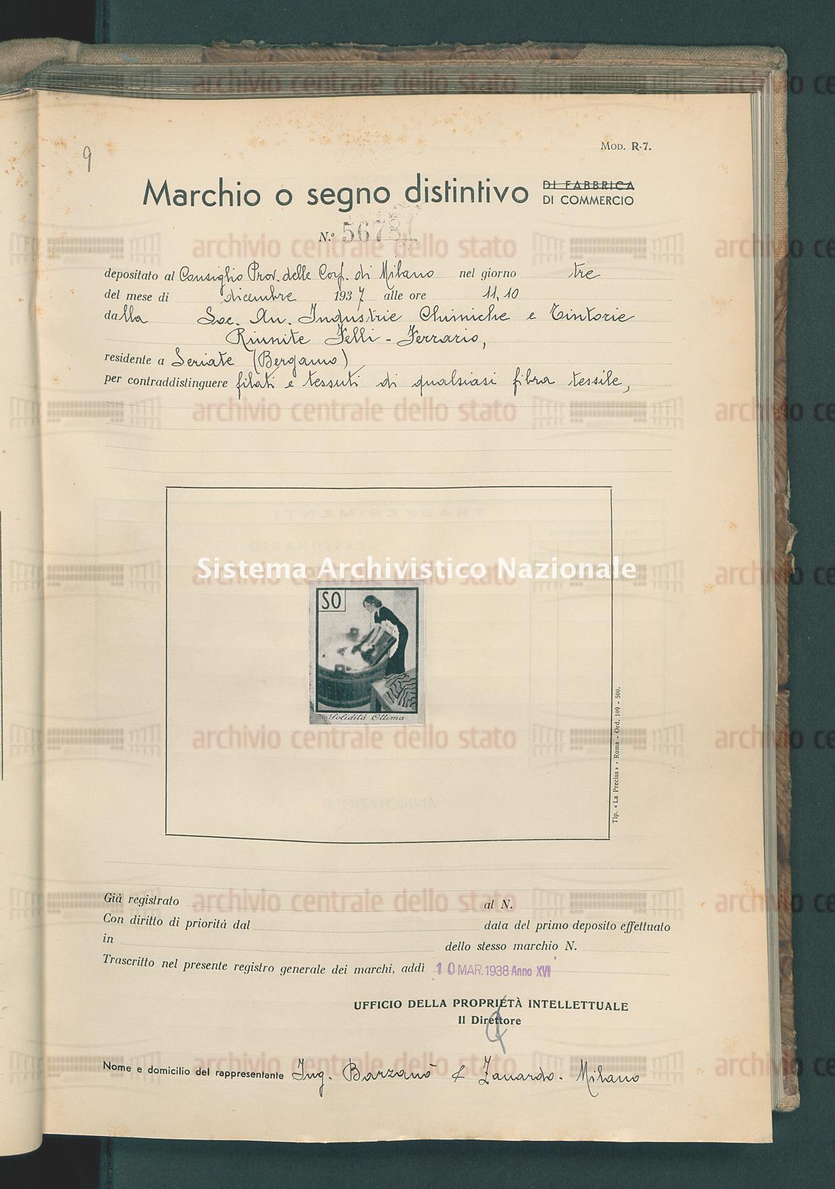 Filati e tessuti di qualsiasi fibra tessile Soc. An. Industrie Chimiche E Tintorie Riunite Felli-Ferrario (10/03/1938)