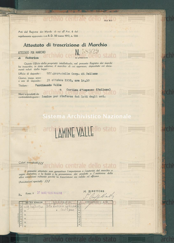 Lamine per rinforzo dei lati degli sci Ferdinando Valle (31/03/1939)