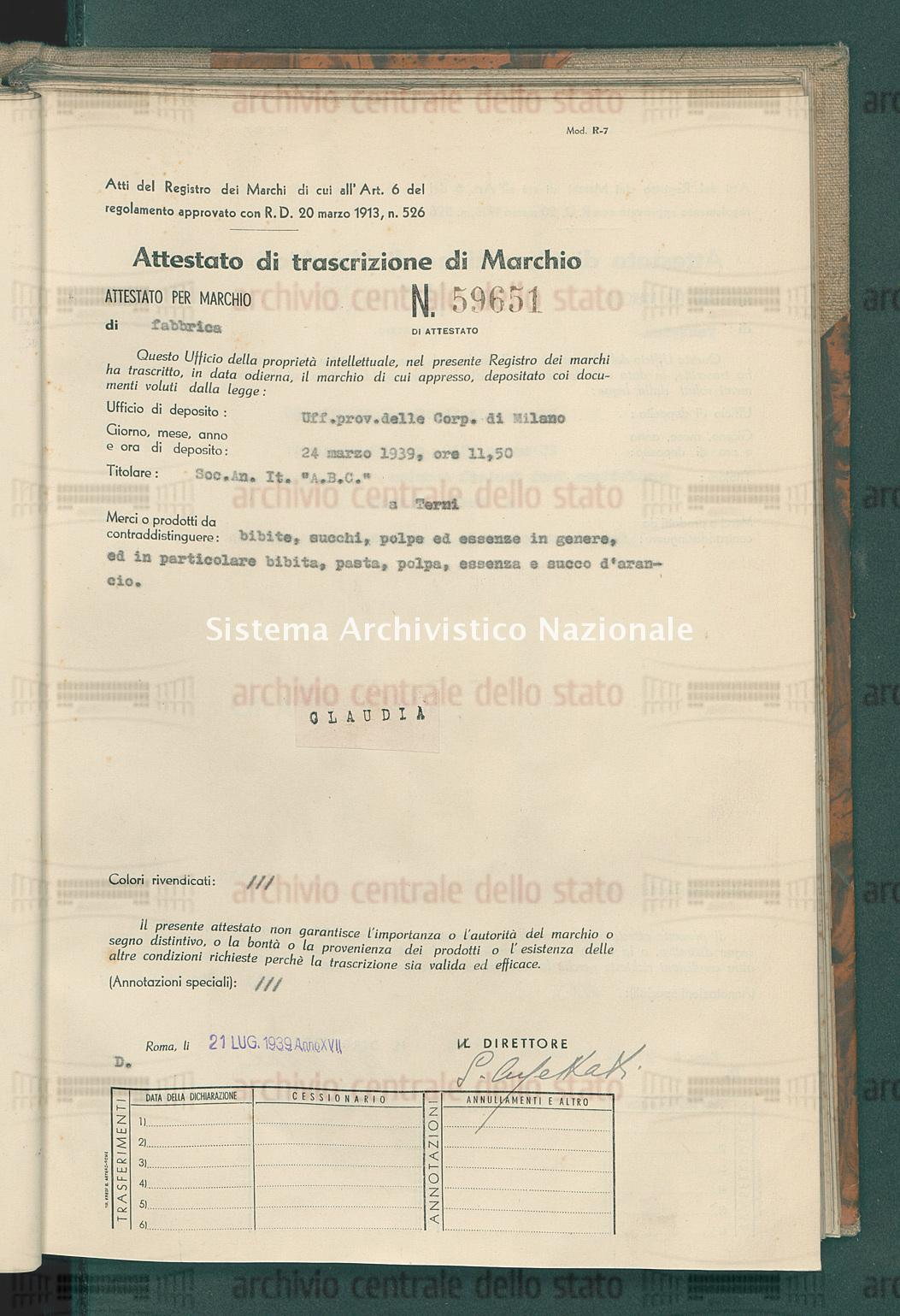 Bibite, succhi, polpe ed essenze in genere, ecc. Soc. An. It. 'A.B.C.' (21/07/1939)
