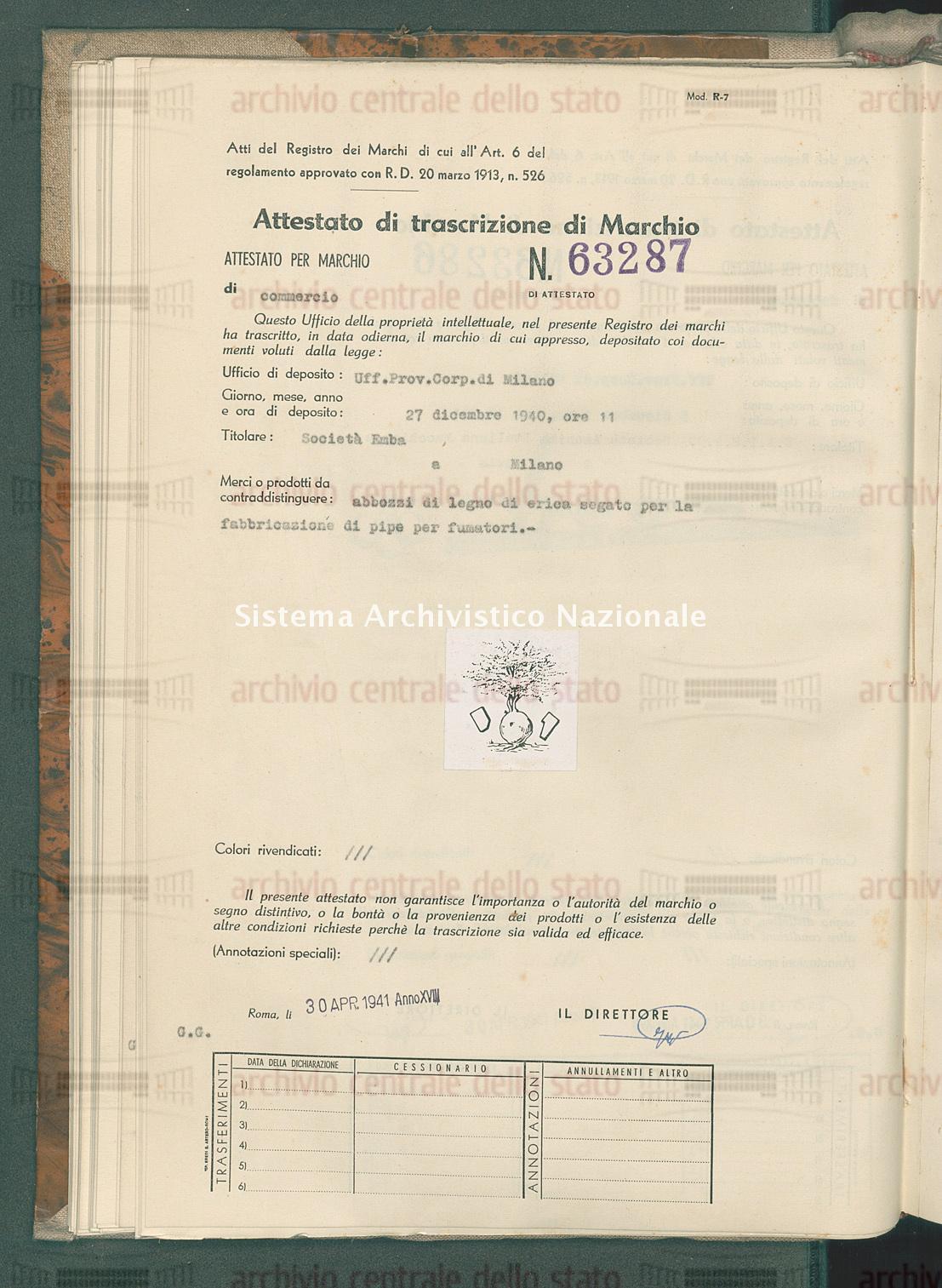 Abbozzi di legno etc. Societa' Emba (30/04/1941)