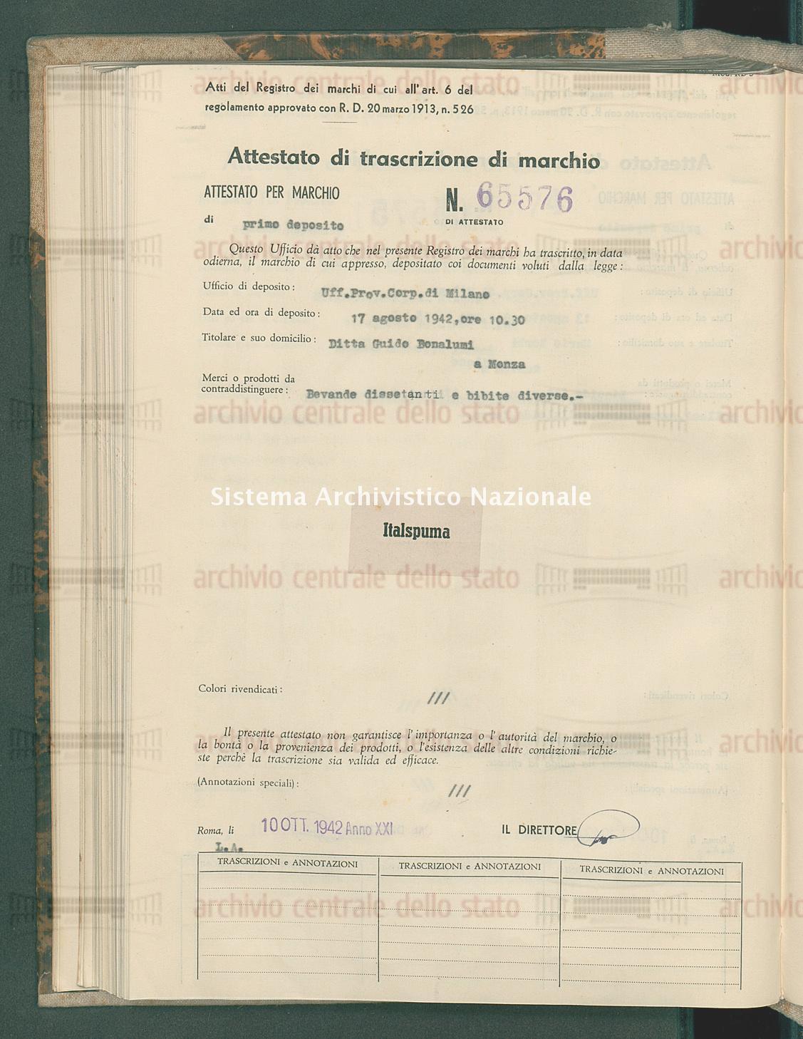 Bevande dissetanti e bibite diverse Ditta Guido Bonalumi (10/10/1942)