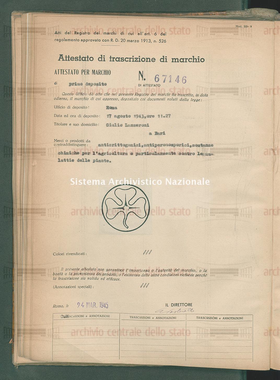 Anticrittogamici, antiperonosporici, sostanze chimiche ecc. Giulio Lazzeroni (24/03/1945)
