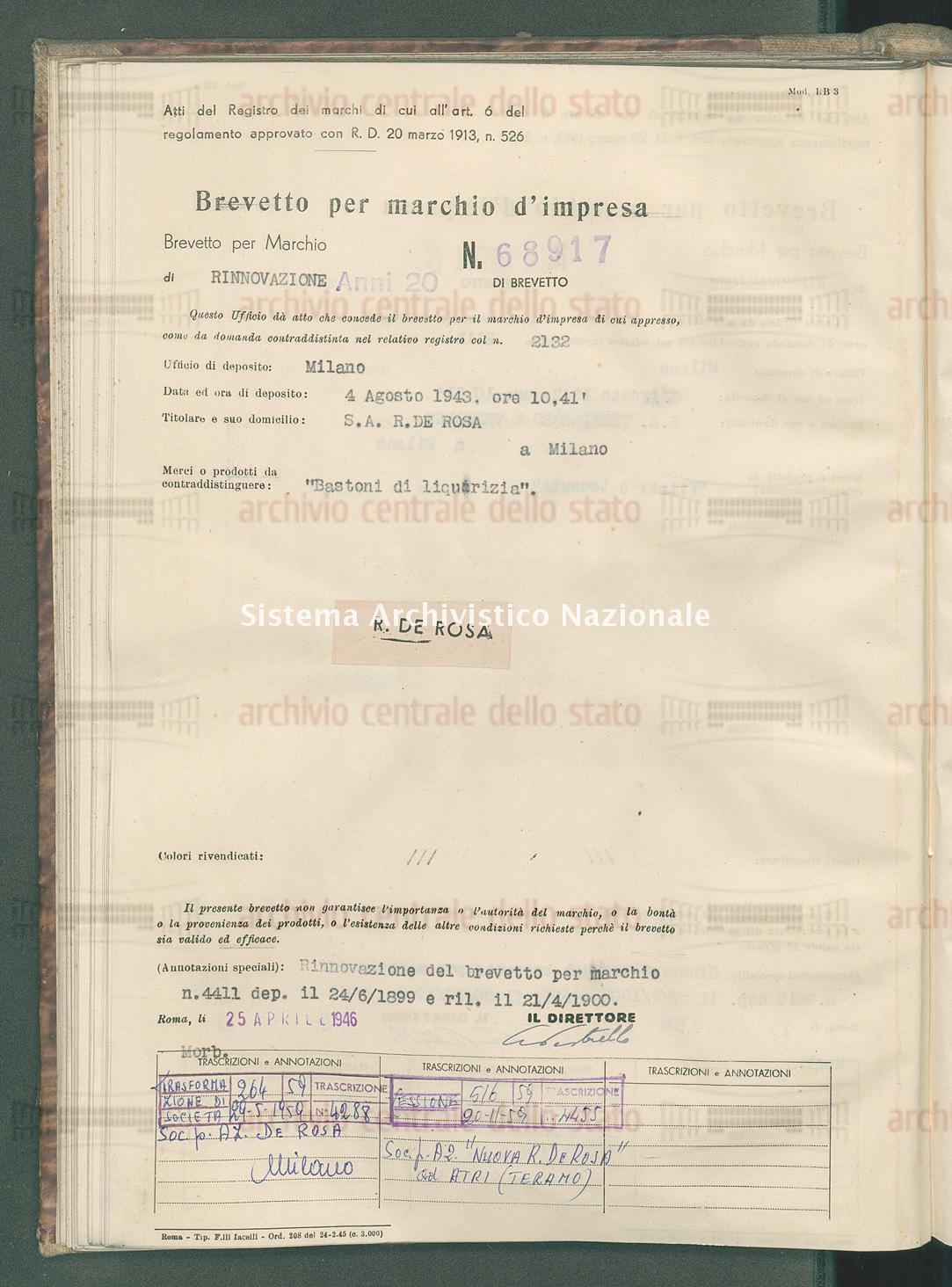 'Bastoni di liquirizia' S.A. R. De Rosa (25/04/1946)