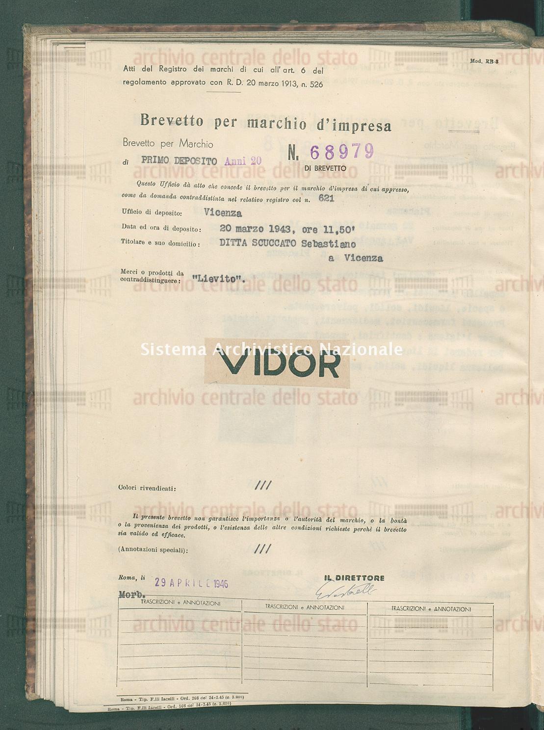 'Lievito' Ditta Scuccato Sebastiano (29/04/1946)