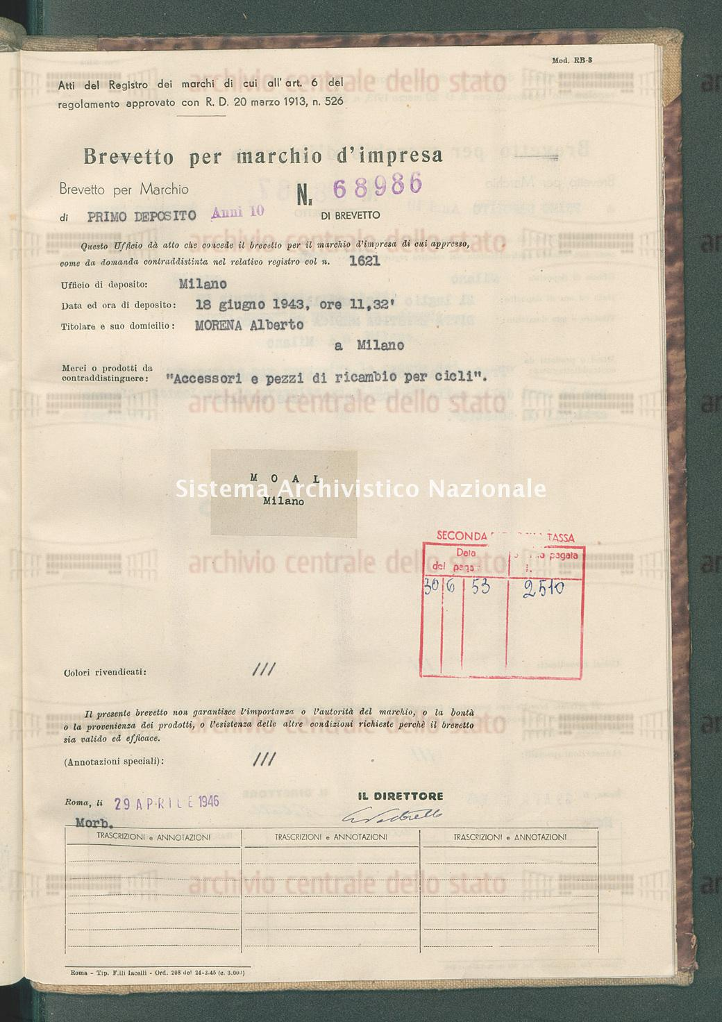 'Accessori e pezzi di ricambio per cicli' Morena Alberto (29/04/1946)