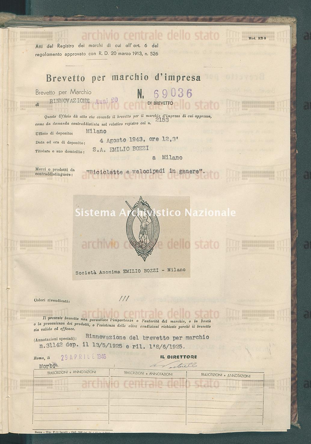 'Biciclette e velocipedi in genere' S.A. Emilio Bozzi (29/04/1946)