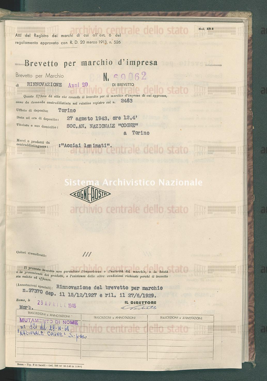 'Acciai laminati' Soc. An. Nazionale 'Cogne' (29/04/1946)