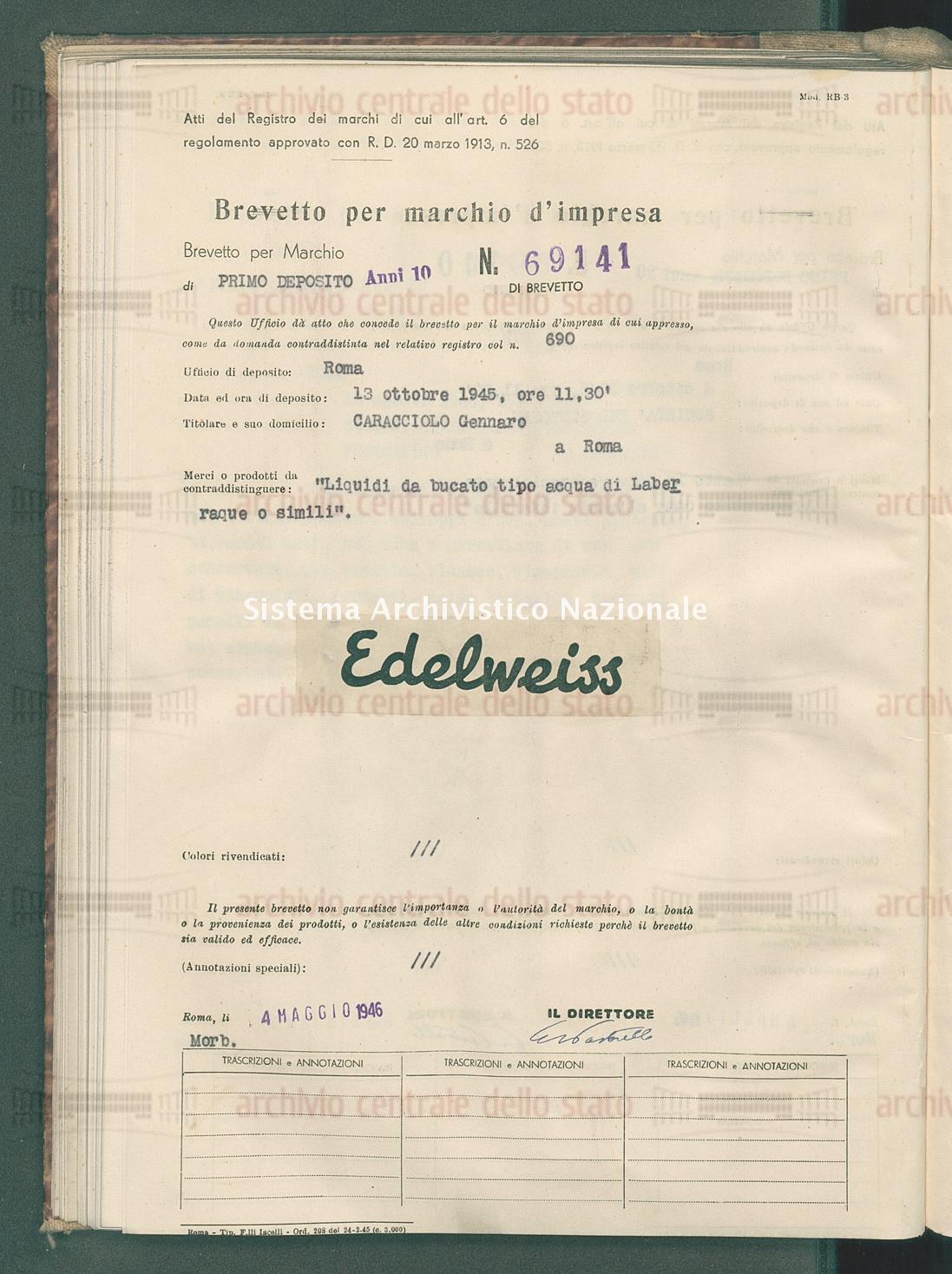 'Liquidi da bucato tipo acqua di laberraque o simili' Caracciolo Gennaro (04/05/1946)