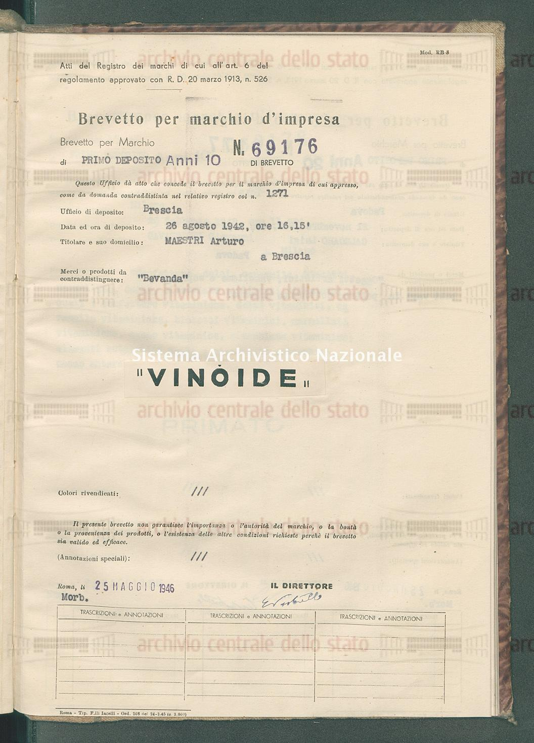 'Bevanda' Maestri Arturo (25/05/1946)
