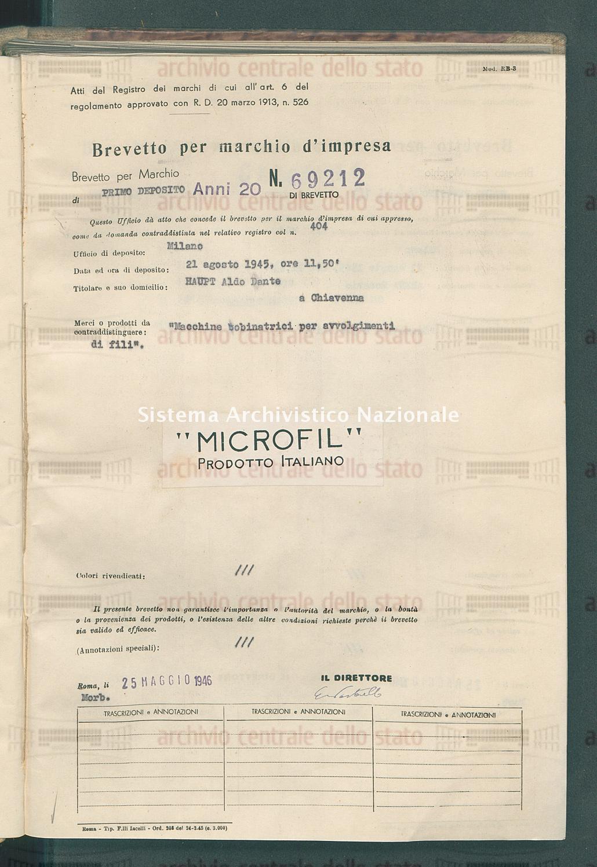 'Macchine bibinatrici per avvolgimenti di fili' Haupt Aldo Dante (25/05/1946)