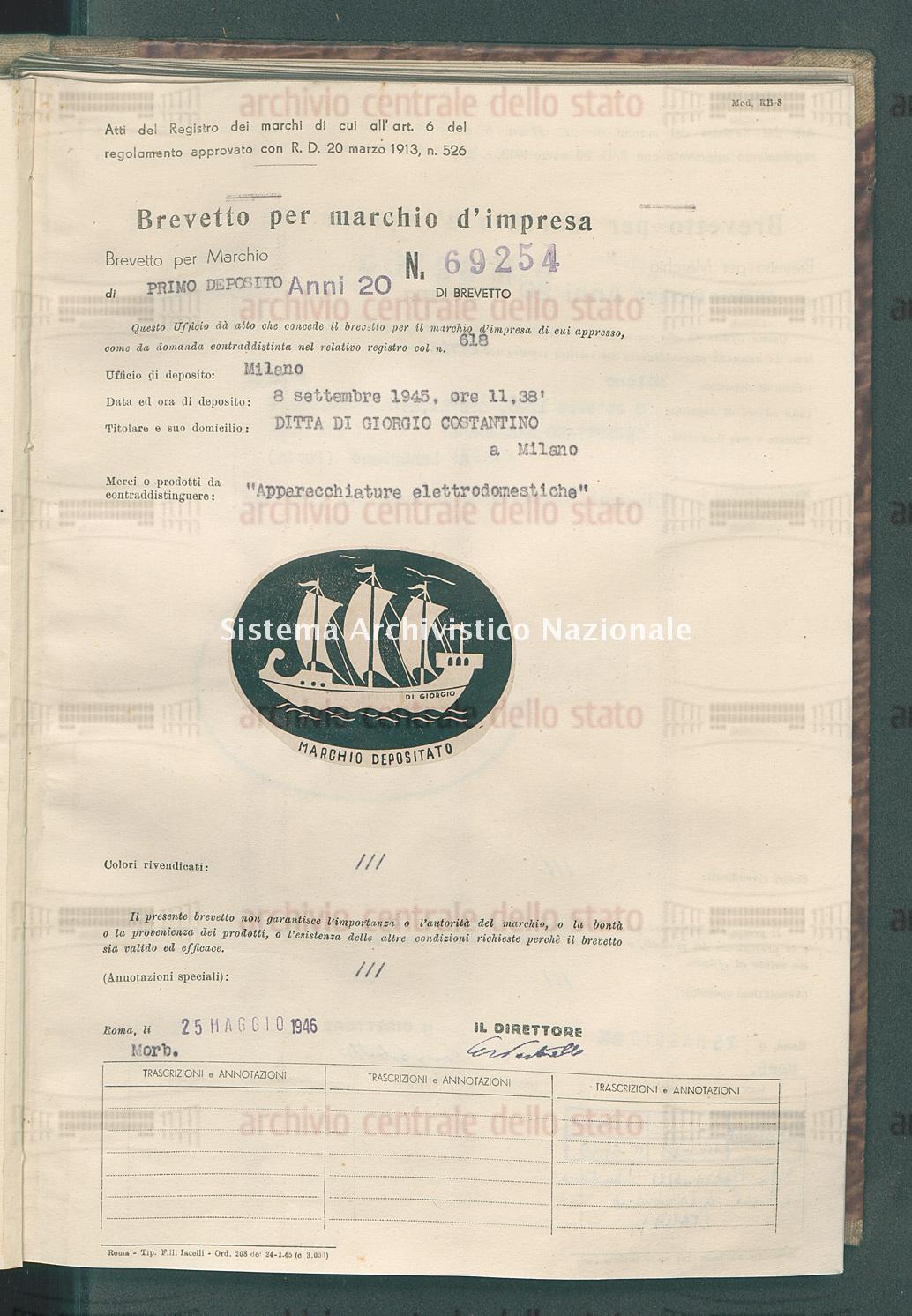 'Apparecchiature elettrodomestiche' Ditta Di Giorgio Costantino (25/05/1946)