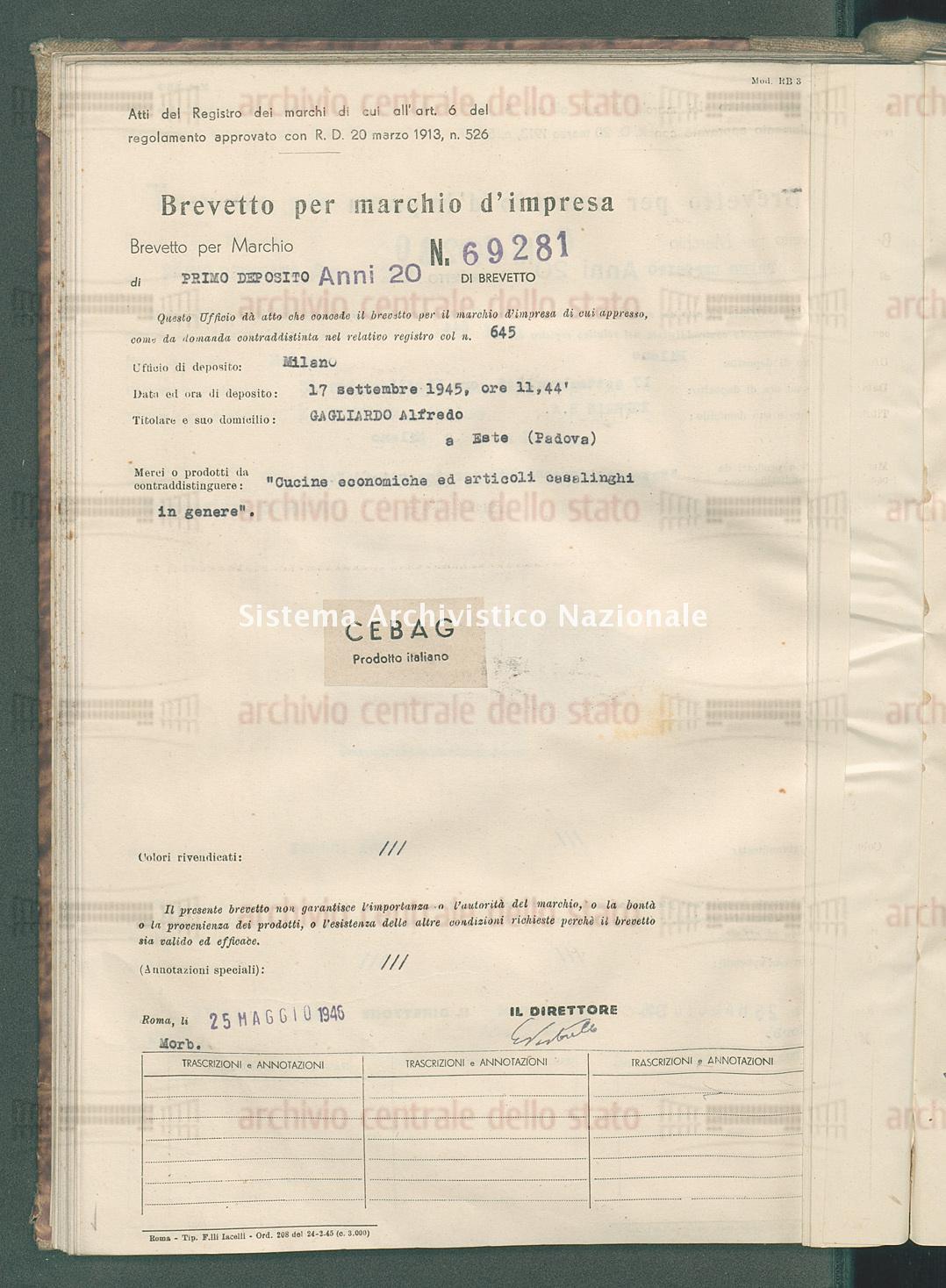 'Cucine economiche ed articoli casalinghi in genere' Gagliardo Alfredo (25/05/1946)