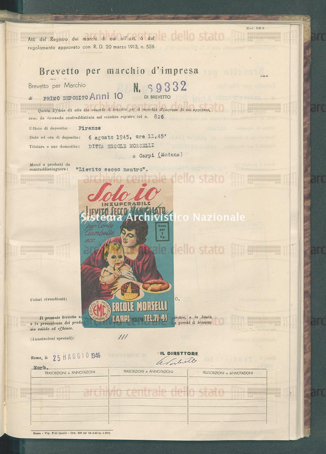 'Lievito secco neutro' Ditta Ercole Morselli (25/05/1946)