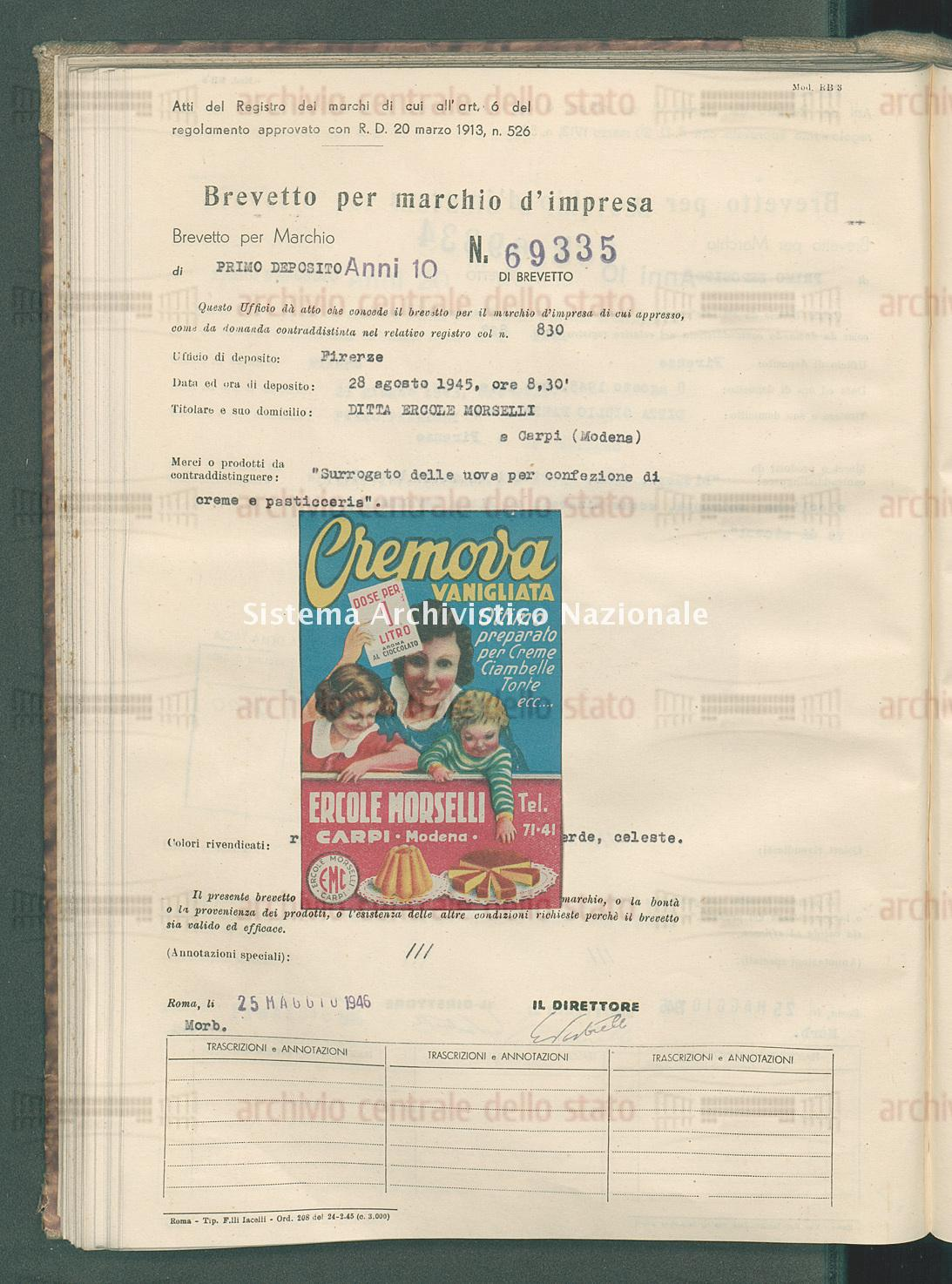 'Surrogato delle uova per confezione di creme e pasticceria' Ditta Ercole Morselli (25/05/1946)