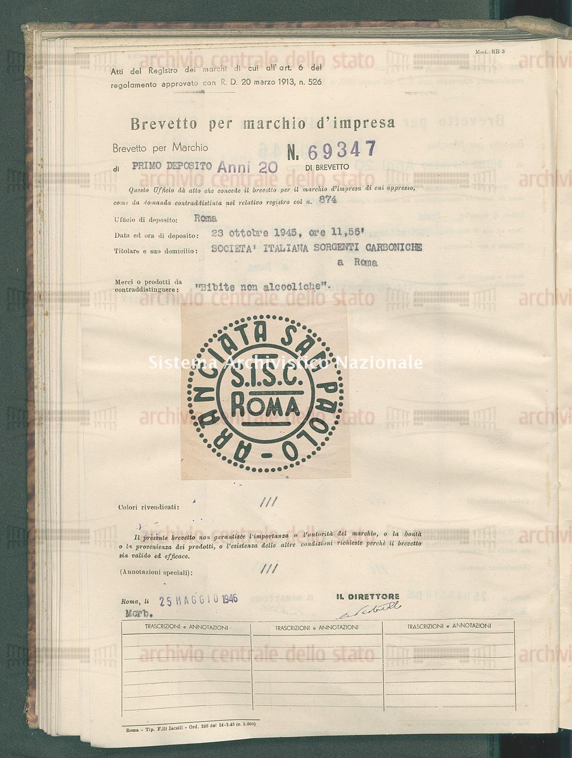 'Bibite non alcooliche' Societa' Italiana Sorgenti Carboniche (25/05/1946)