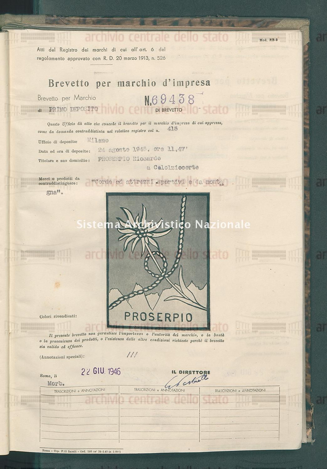'Corde ed attrezzi sportivi e da montagna' Prosepio Riccardo (22/06/1946)