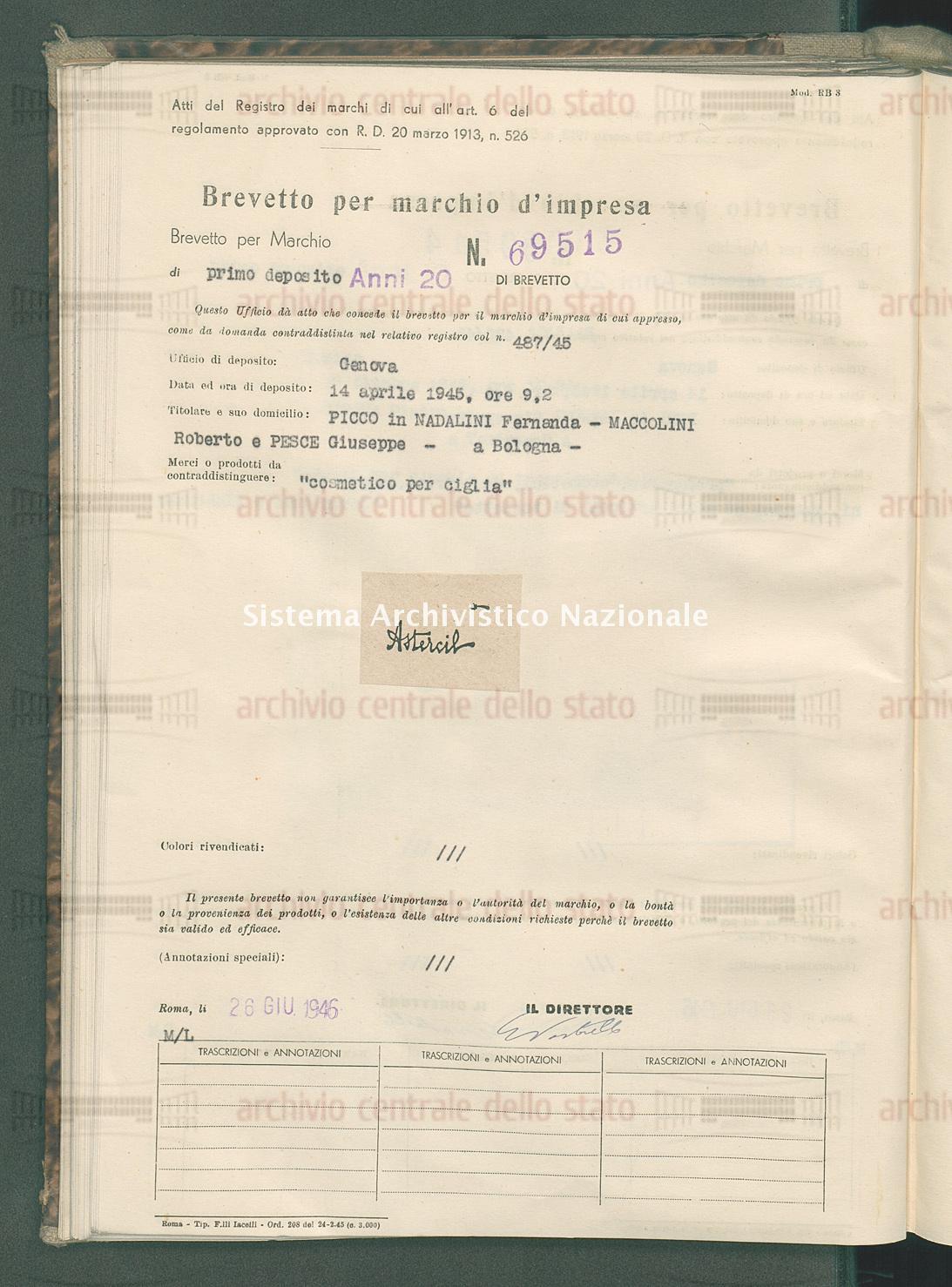 'Cosmetico per ciglia' Picco In Nadalini Fernanda - Maccolini Roberto E Pesce Giuseppe (26/06/1946)