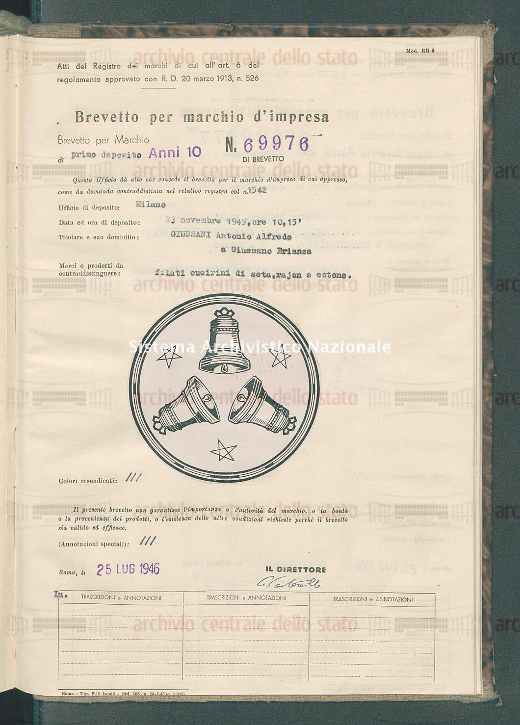 Filati cucirini di seta ecc. Giussani Antonio Alfredo (25/07/1946)